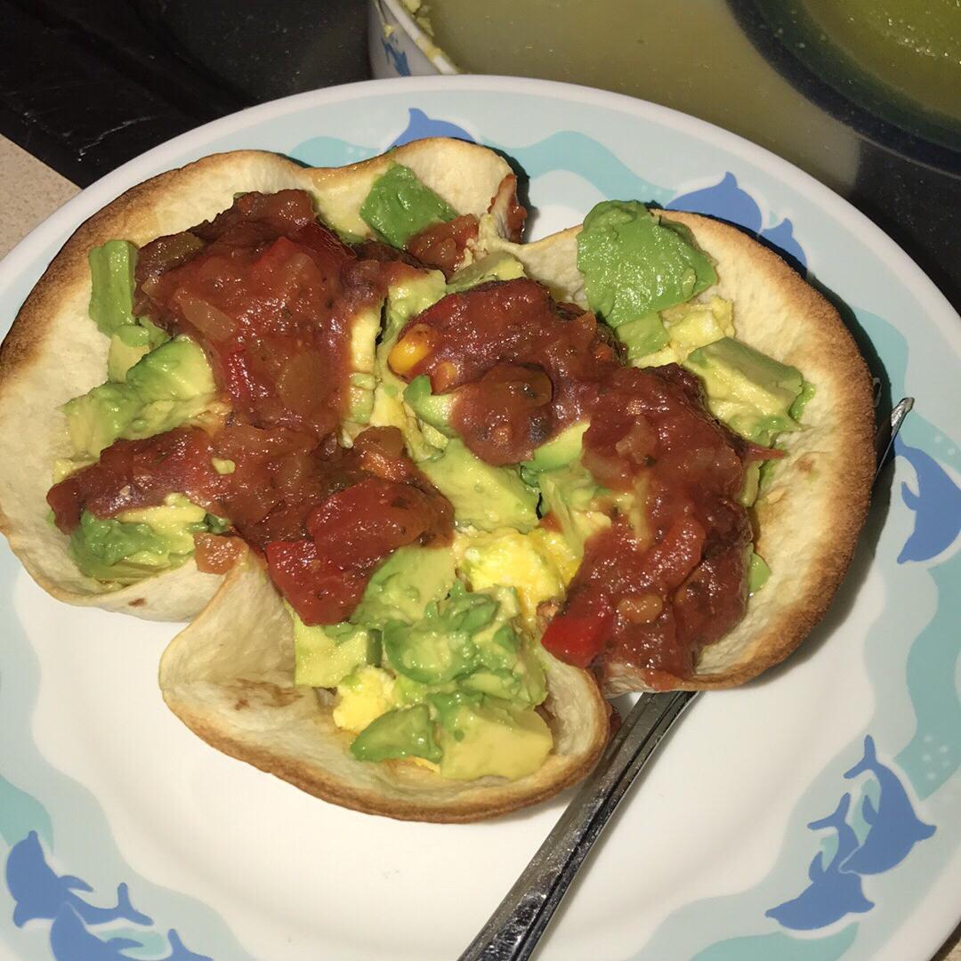 Scrambled Eggs, Cheese, and Avocado Tortilla Bowl Sarah Wing