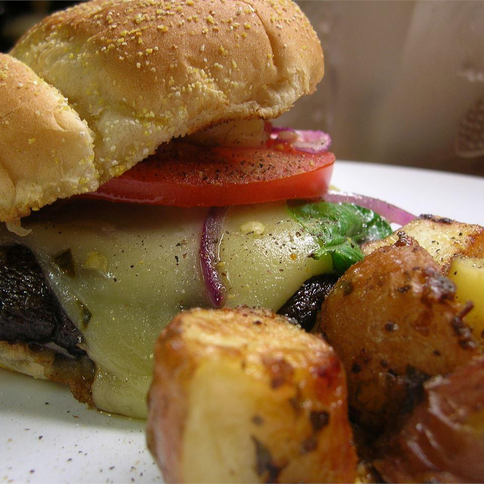Grilled Portobello Sandwich with Roasted Red Pepper and Mozzarella