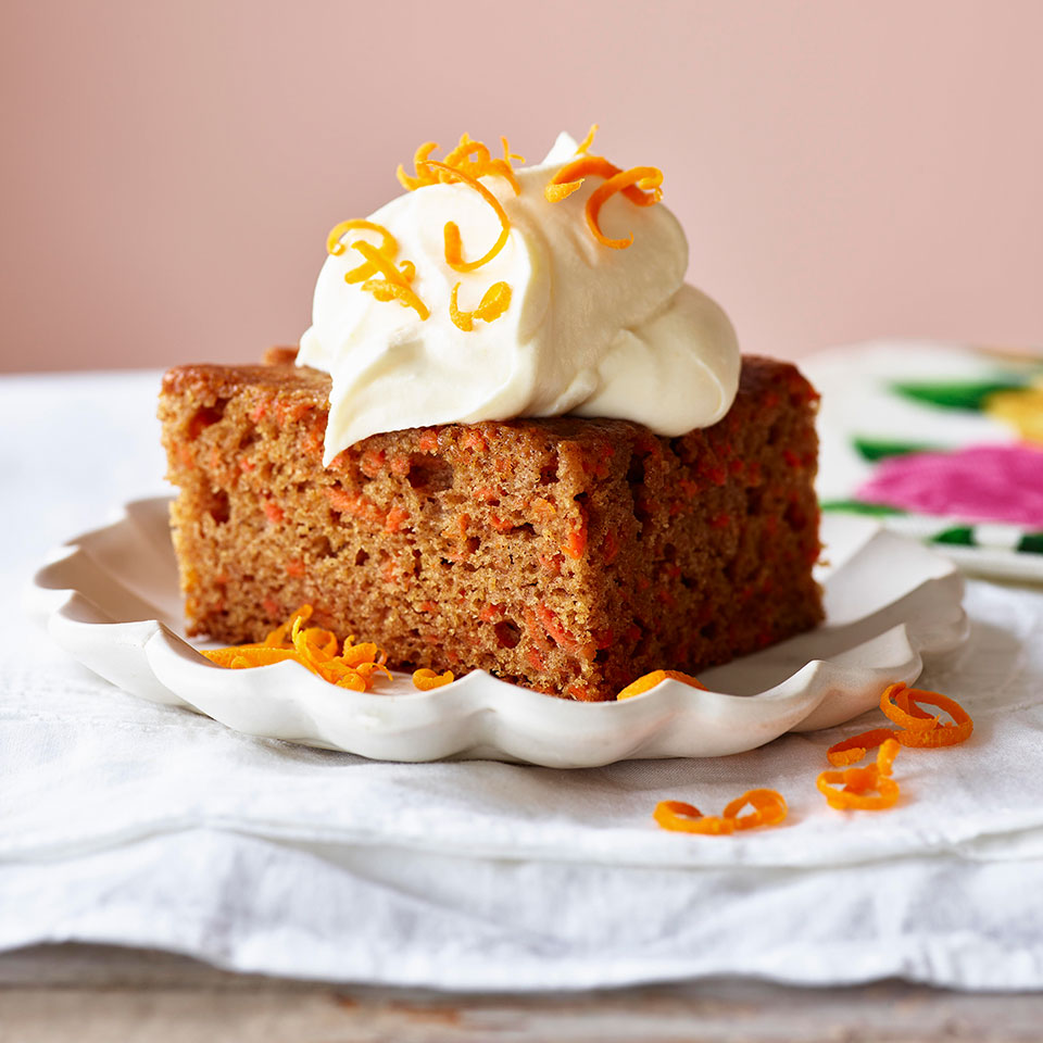 Carrot Cake with Orange-Saffron Cream