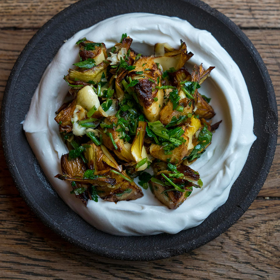 Crispy Artichokes over Labneh Trusted Brands