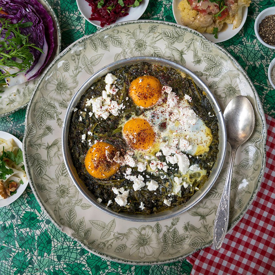 The inspiration for this green shakshuka recipe comes from HaBasta, a popular restaurant on the edge of Carmel Market in Tel Aviv, where the shakshuka is packed with green chard and spinach and a little hot pepper provides just a touch of spice. Serve with pita or crusty bread to sop up the sauce for a quick dinner or for brunch.