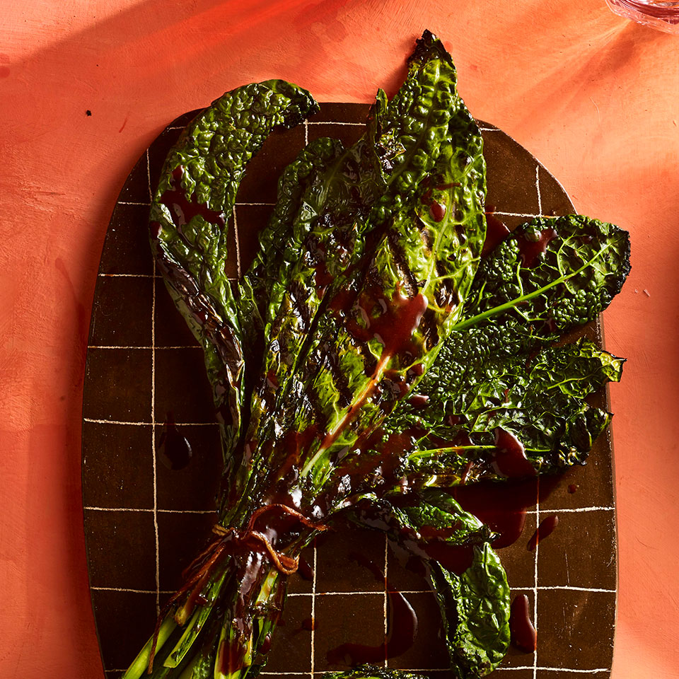 Grilled Kale Bundles with Sour Cherry-Chipotle Drizzle Allrecipes Trusted Brands