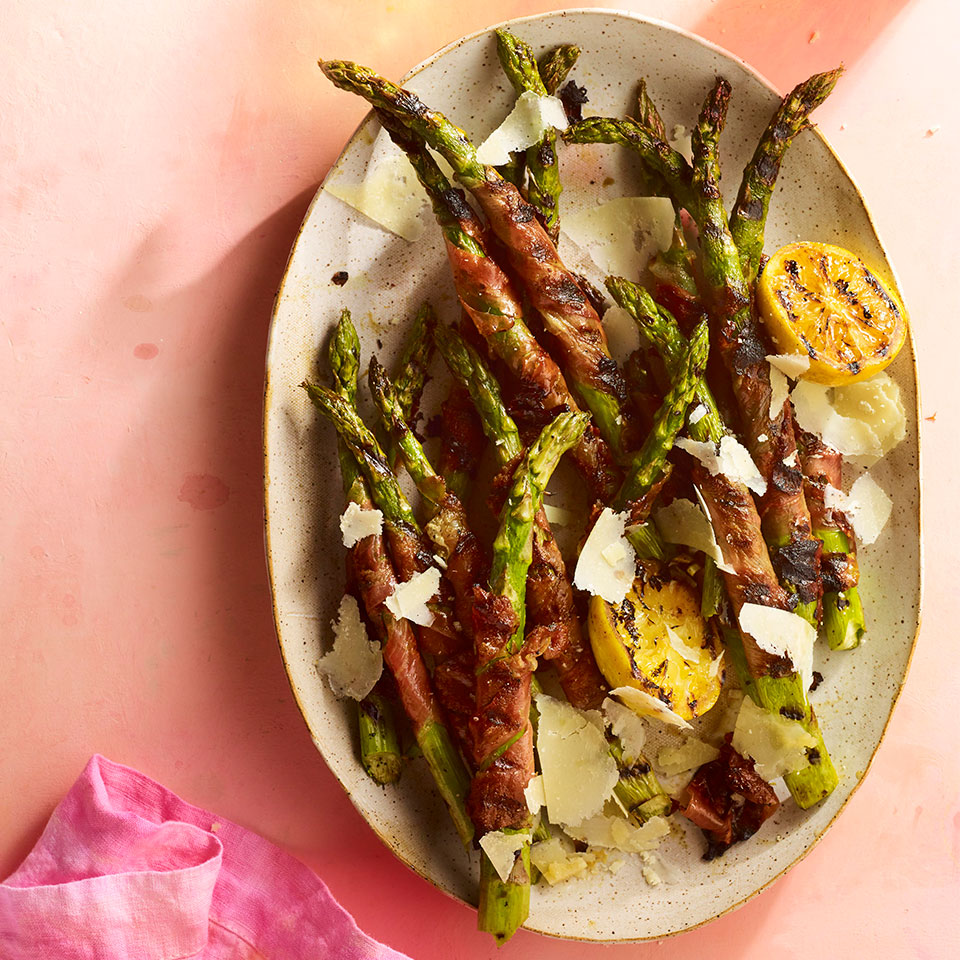 The multilayered fruitiness of fig-infused balsamic (look for it with other vinegars at the market) is a nice balance for the sweet and salty prosciutto-wrapped asparagus spears. Source: EatingWell Magazine, May 2019