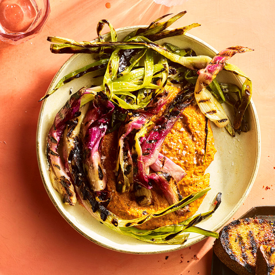 If you can find torpedo onions, try them in this healthy grilled recipe. These long, cylindrical purple onions, similar in flavor and texture to leeks, soften and caramelize to a sweet finish on the grill. You can find them at farmers' markets in spring or fall. Any spring onion or even 1-inch-thick slices of sweet onion make a good substitute. Source: EatingWell Magazine, May 2019