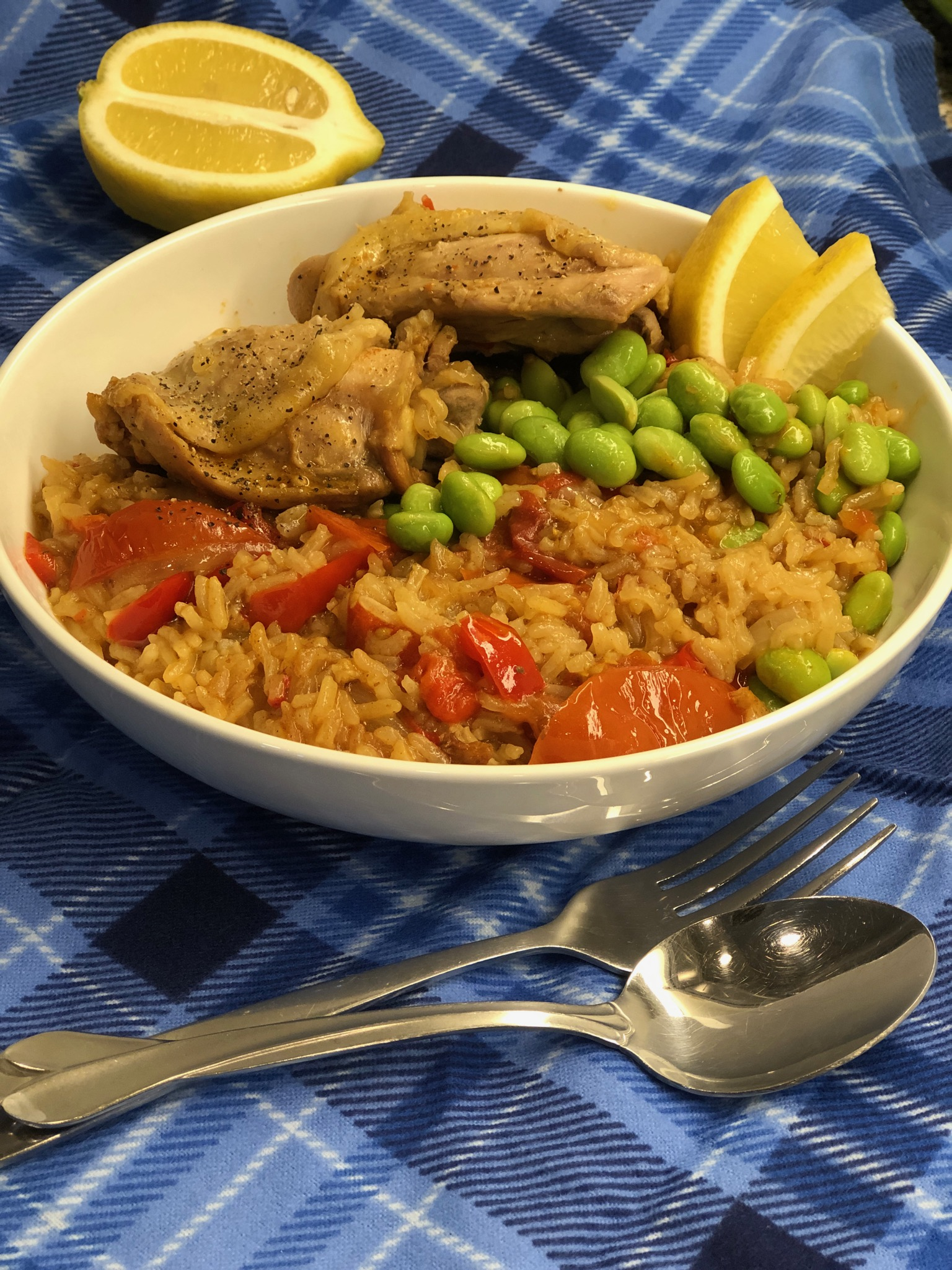 """This delicious arroz-con-pollo-esque dish is so easy to make with the Instant Pot,"" says Diana71. ""Colorful, appetizing, and nourishing, this meal comes together in a flash and is chock full of flavor! Squeeze lime or lemon wedges over if you like!"""