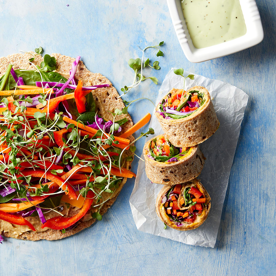 There's definitely a sushi vibe to these kid-friendly wraps, which are stuffed with vegetables, cheese and hummus and then rolled and sliced. Serve them with store-bought green goddess, a creamy herb-filled dressing, to take it up a notch with ease. They look impressive but they're easy enough for kids to assemble themselves for an easy lunch or dinner.