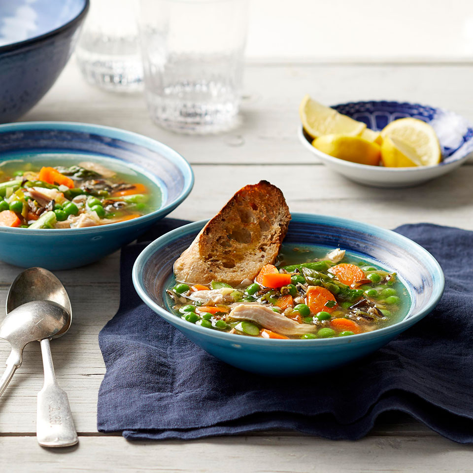 Use your crock pot all year with this healthy slow-cooker chicken soup recipe with fresh spring ingredients. Adding the asparagus and peas to the slow cooker for the last 20 minutes of cooking and leaving the lid off ensures that the vegetables stay bright green and are perfectly done without getting mushy. Source: EatingWell Magazine, May 2019