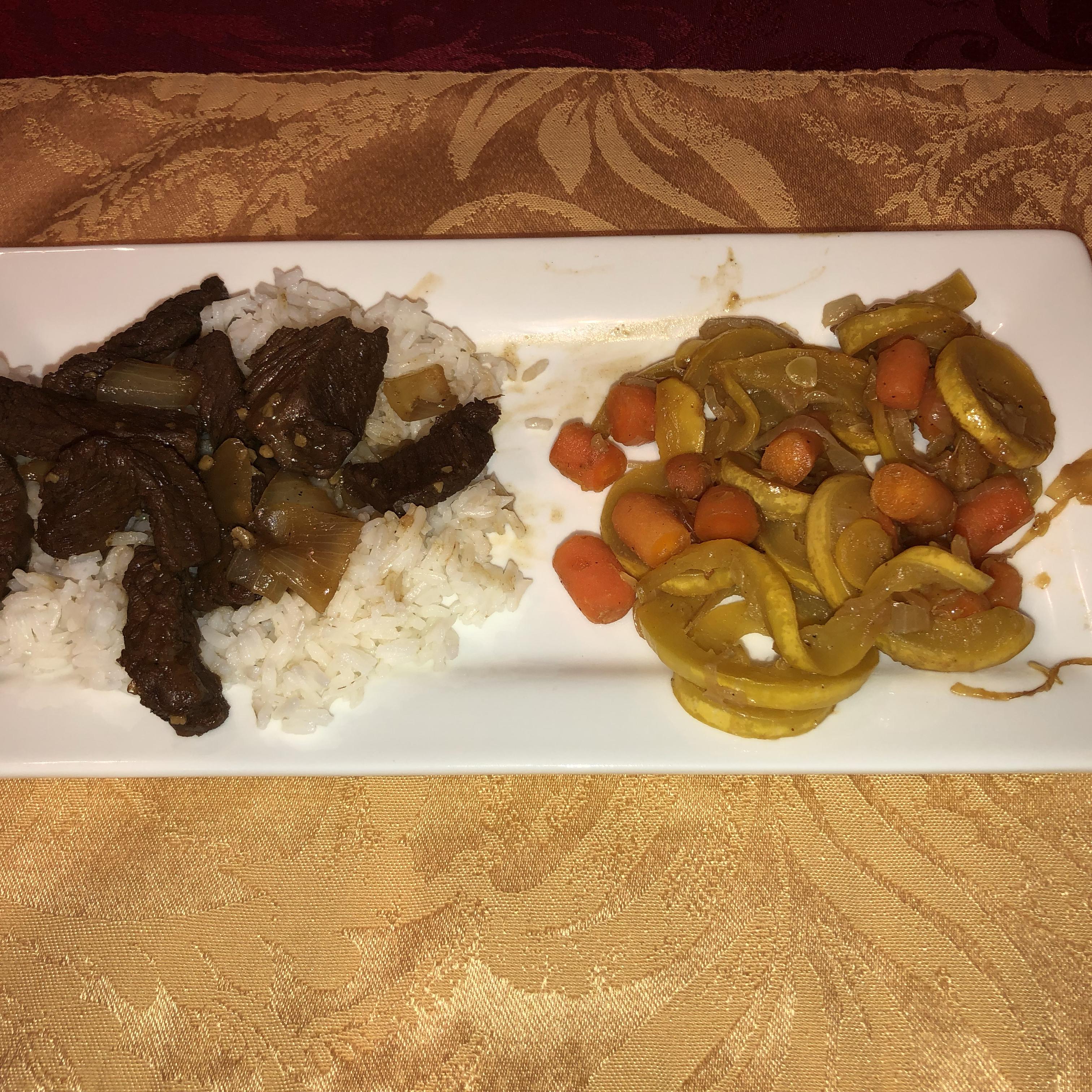 Kicky Steak Strips with Rice