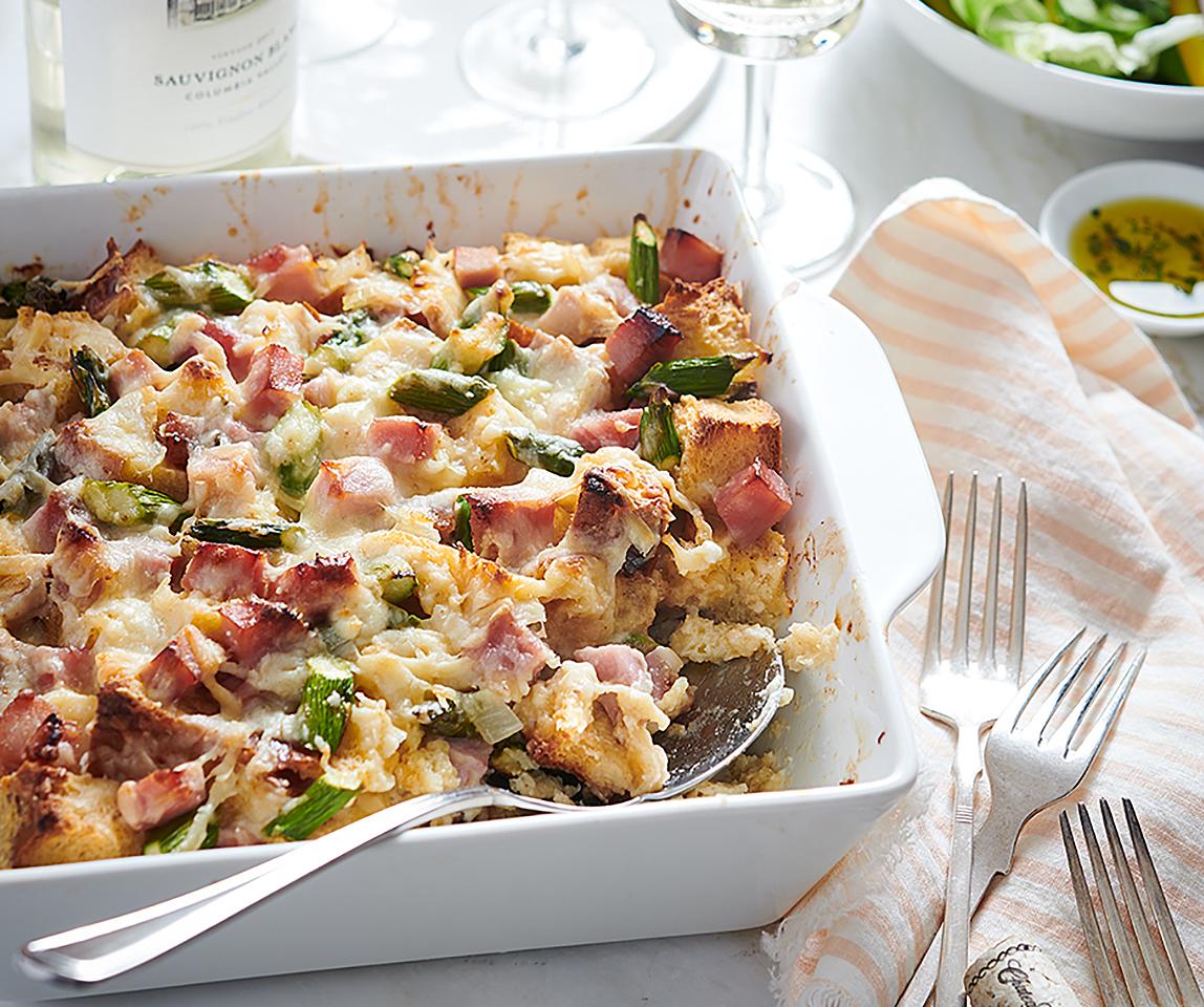 Ham, Asparagus, and Goat Cheese Strata