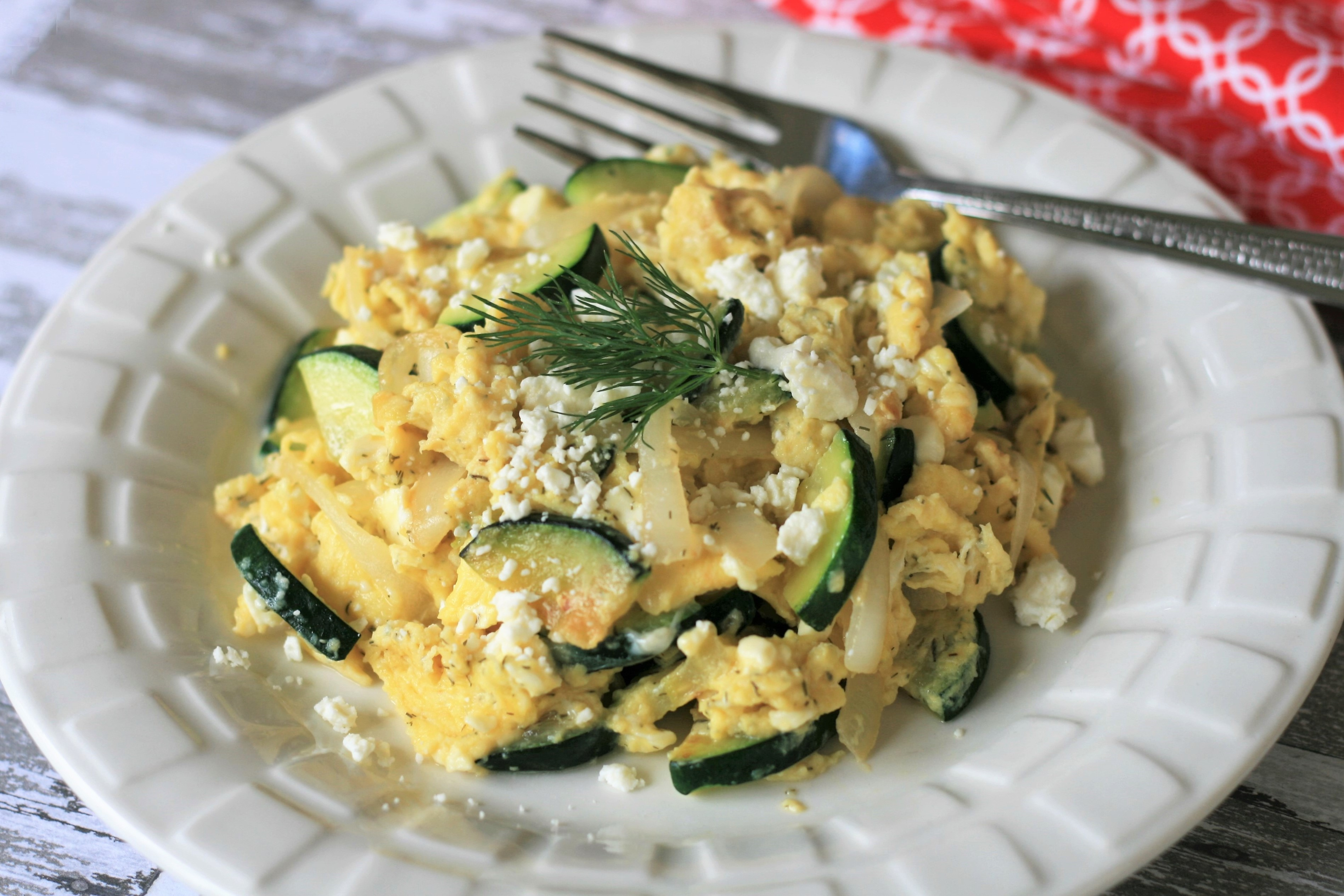 Scrambled Eggs with Zucchini and Feta