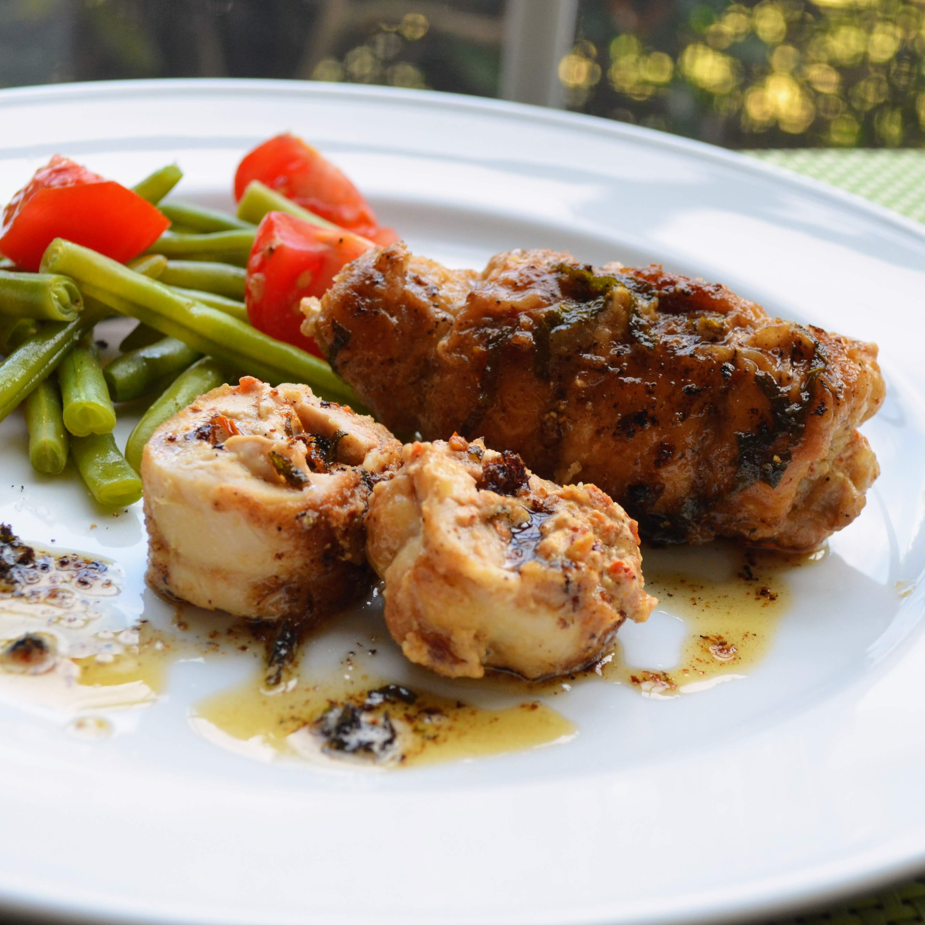Goat Cheese and Sun-Dried Tomato Stuffed Chicken Thighs with Sage Brown Butter Sauce