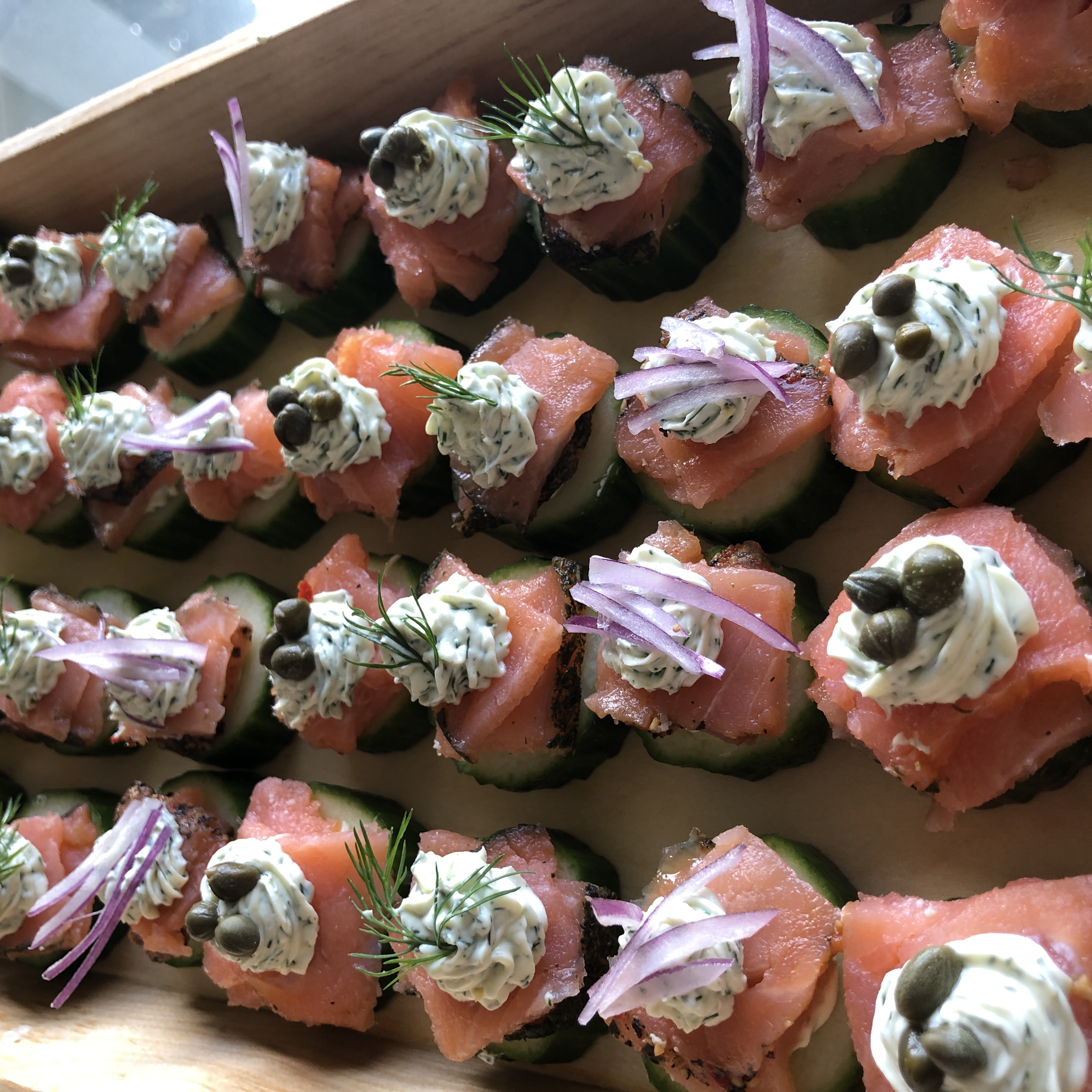 Cucumber Cups with Dill Cream and Smoked Salmon KimcheeMomma