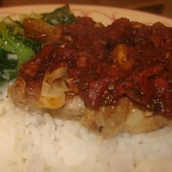 Pork Chops with Fresh Tomato, Onion, Garlic, and Feta