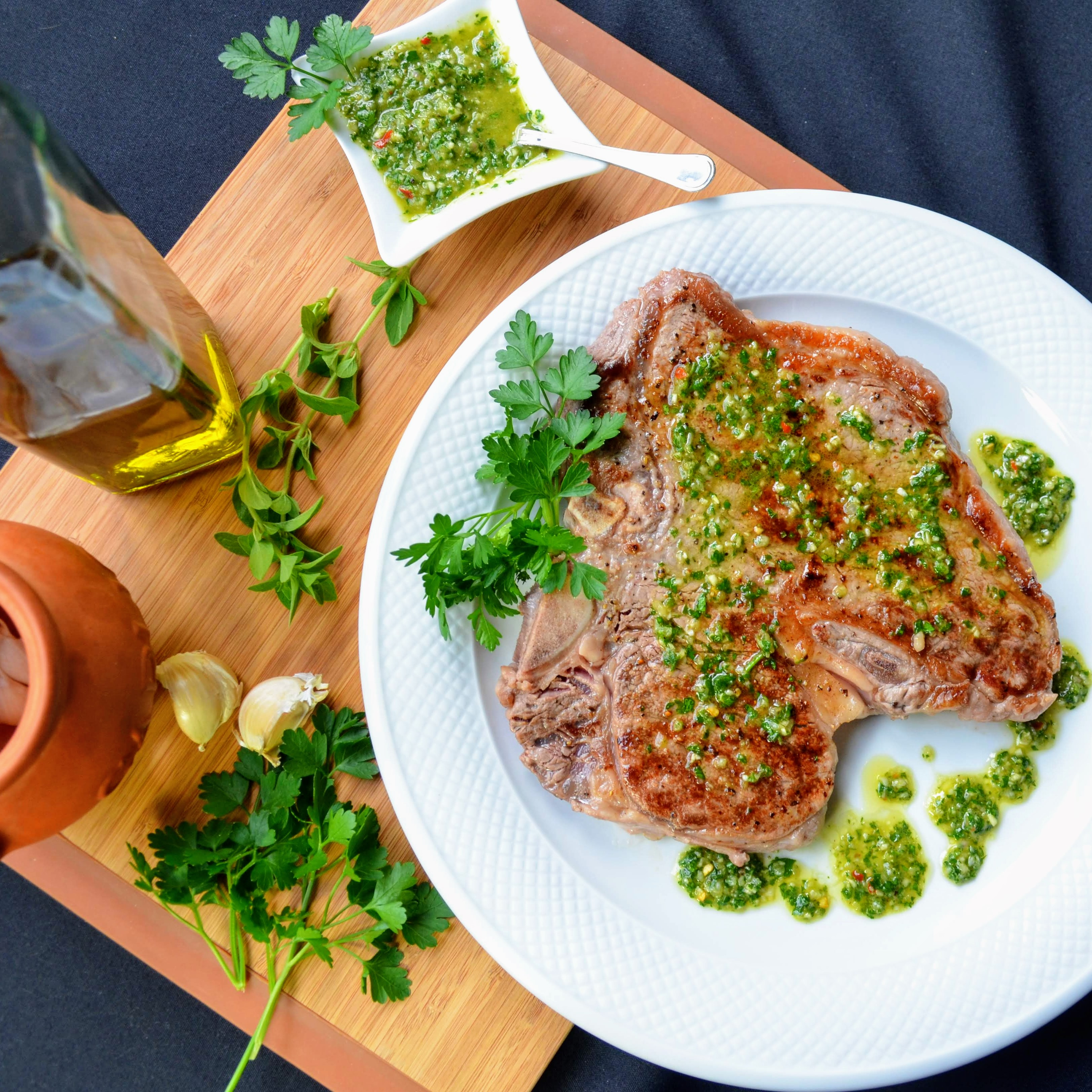 Grilled Porterhouse Steak with Chimichurri Sauce