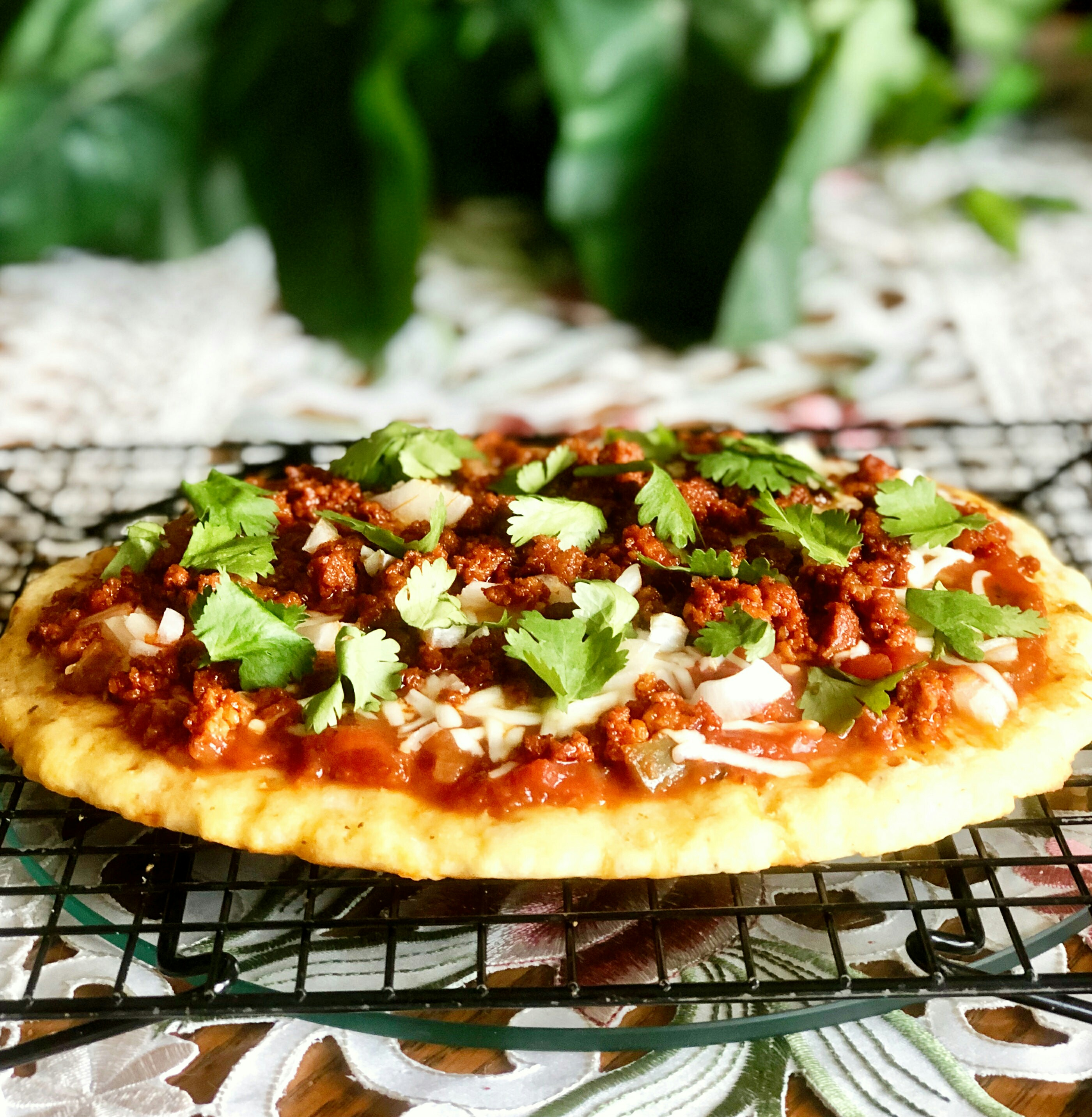 Keto Fathead Pizza with Chorizo and Salsa Yoly