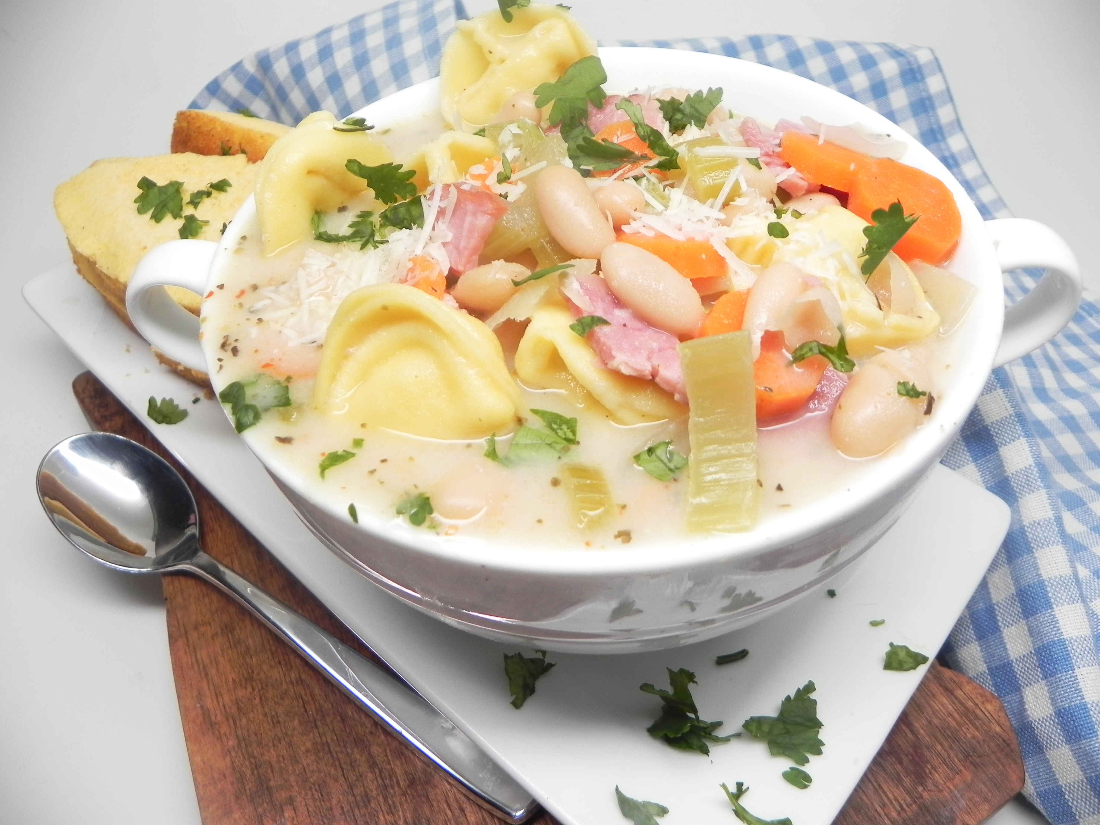 Creamy Ham, Bean, and Tortellini Soup