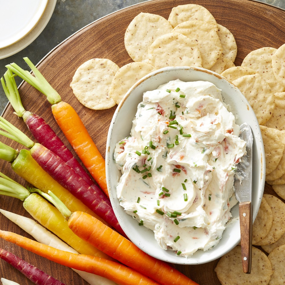 Tangy horseradish flavors this smoked salmon cream cheese. Serve it spread on rice crackers for an impromptu cocktail party snack.