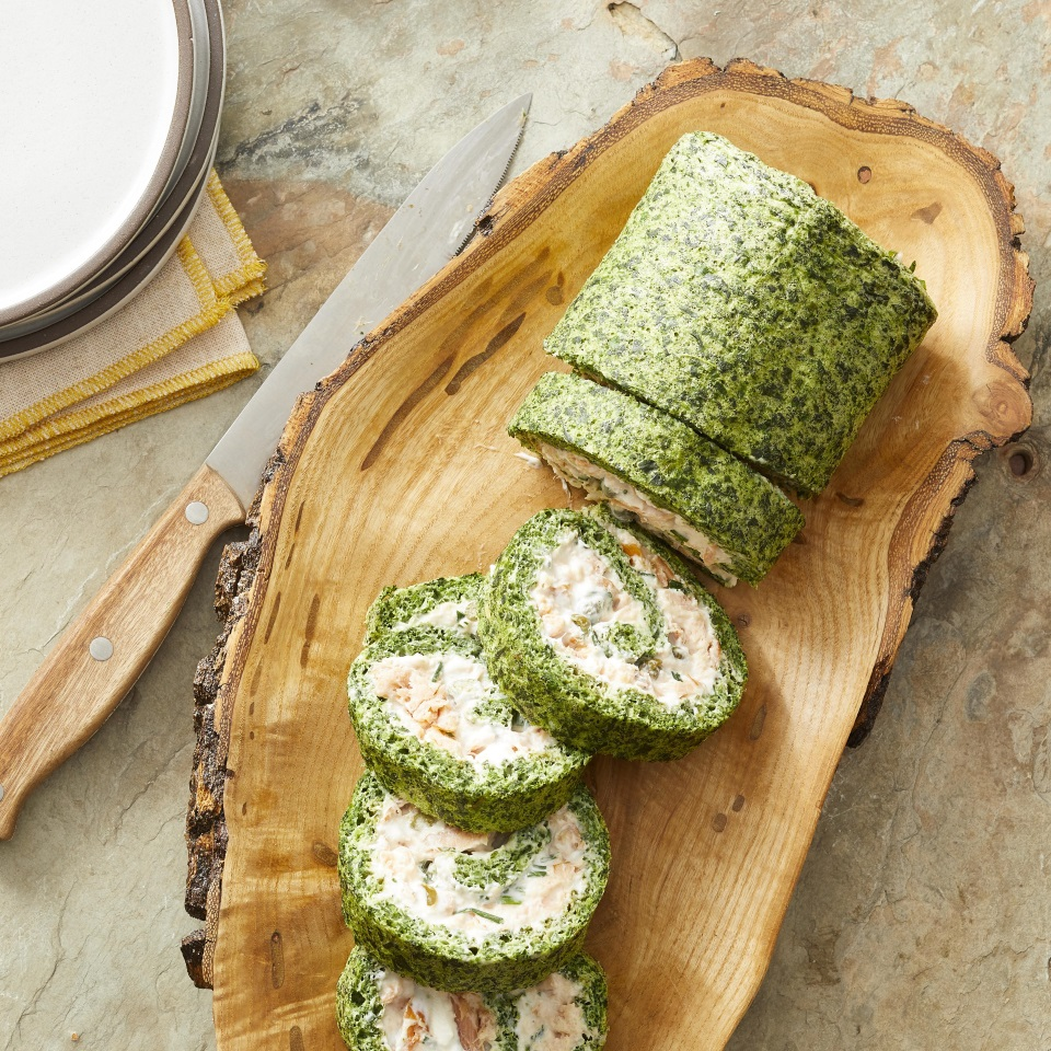 Smoked Salmon & Spinach Roulade Kate Hays