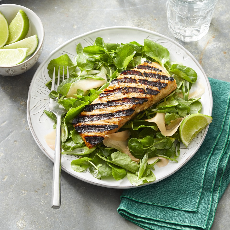 A ginger-lime marinade makes salmon sing. Source: EatingWell Magazine, July/August 1997
