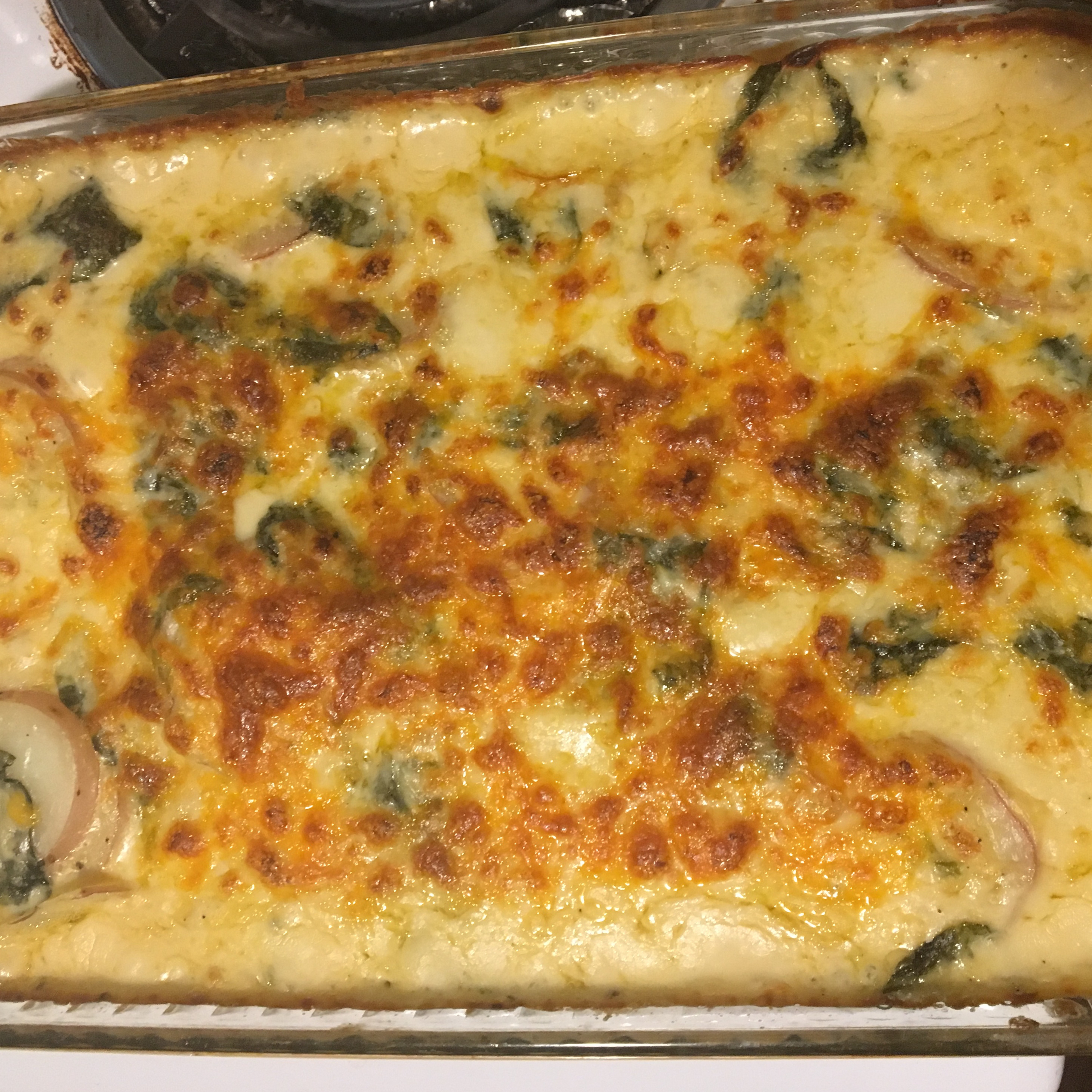 Spinach, Potatoes, and Bacon Au Gratin amy