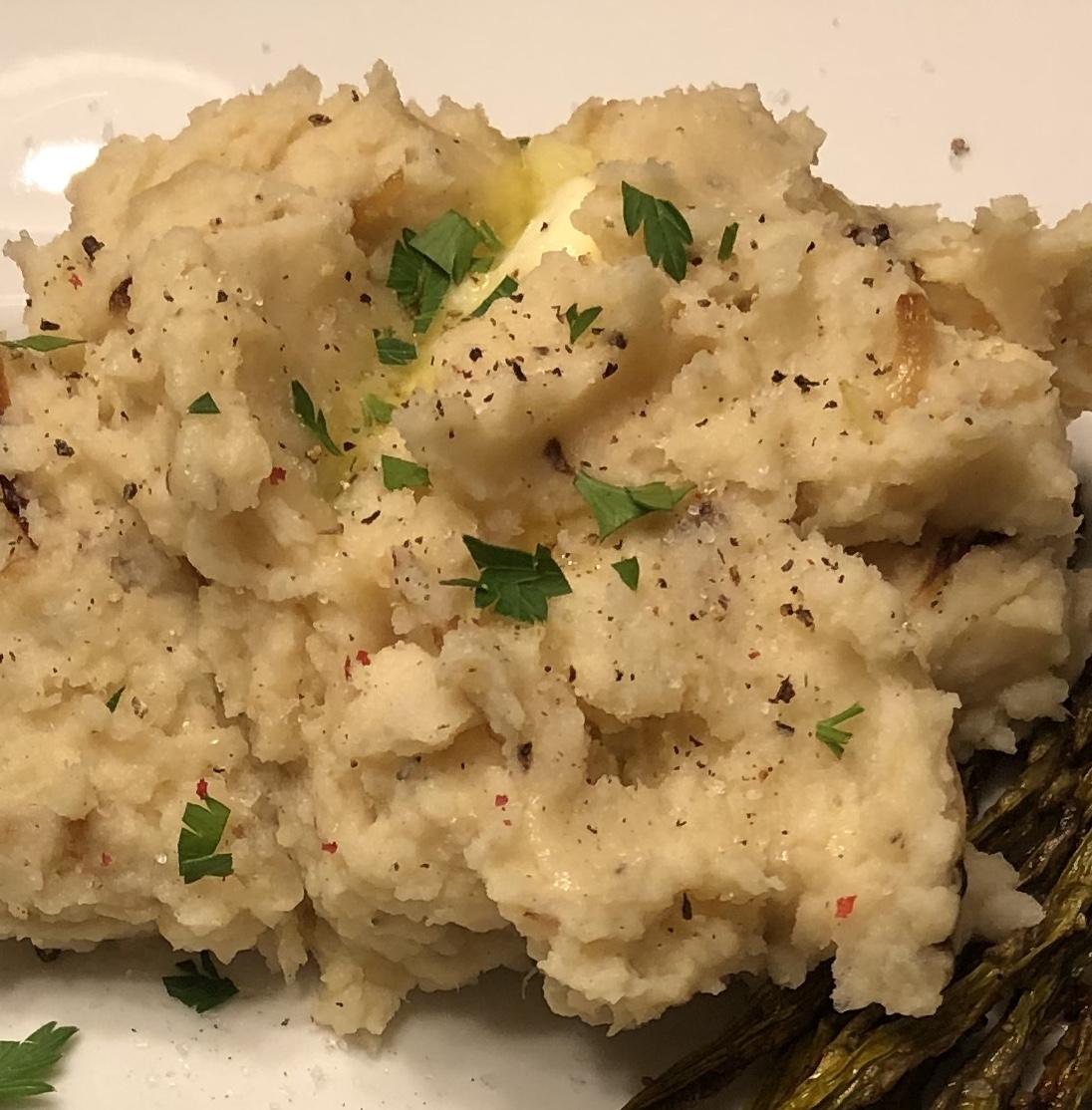 Caramelized Onion and Horseradish Smashed Potatoes JustJen