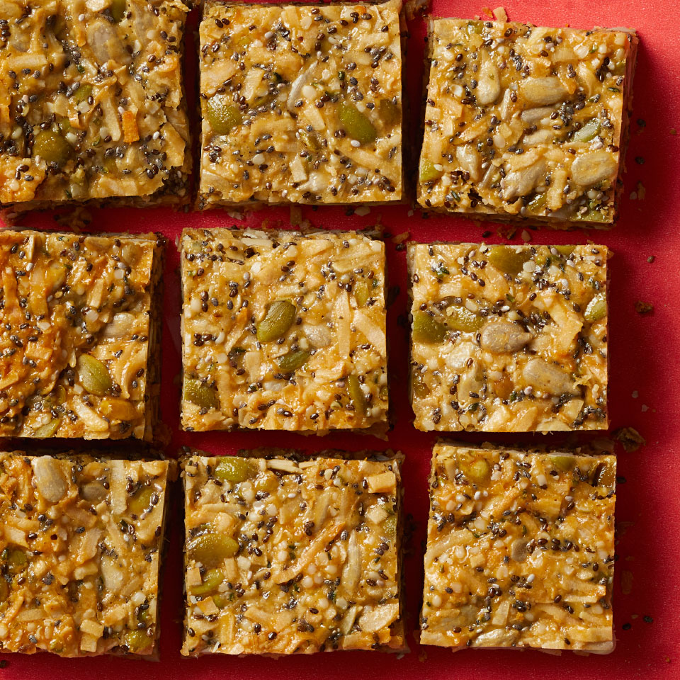 Thanks to a mix of pumpkin, sunflower, hemp and chia seeds, these healthy snack bars are packed with protein, fiber, minerals and healthy fats. Because these bars pack well, they're great for taking along on all-day adventures.