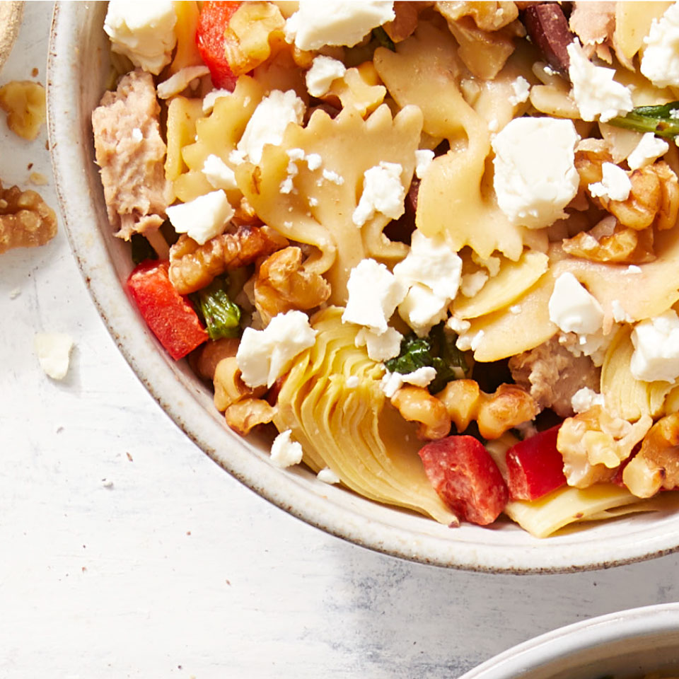You might not think to use hummus as a pasta sauce, but the creamy dip makes the perfect backdrop to the bold flavors of this healthy Mediterranean-inspired pasta salad. Source: Diabetic Living Magazine, Summer 2019