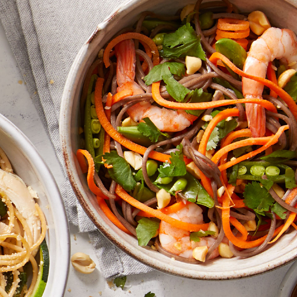 This healthy peanut shrimp noodle recipe comes together in a flash, thanks to cooked shrimp and a handful of crunchy veggies. Look for precooked cocktail shrimp in the seafood section of your grocery store. Source: Diabetic Living Magazine, Summer 2019