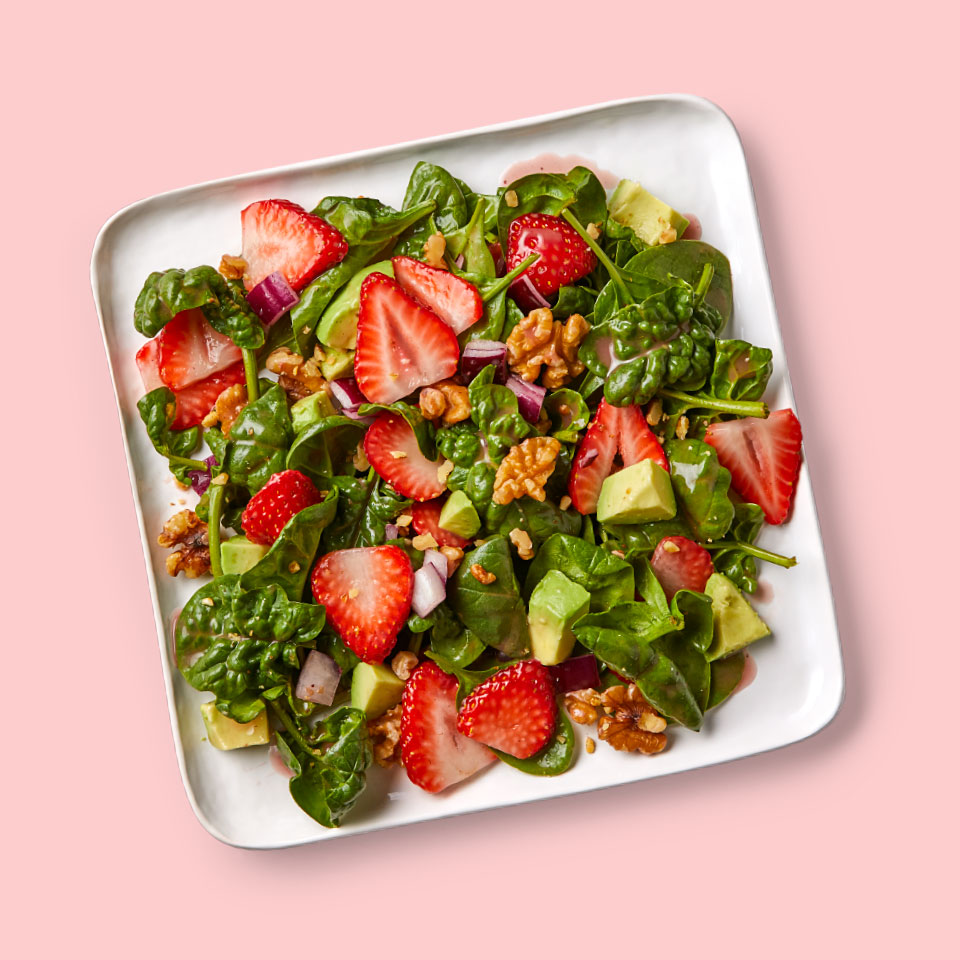 Serve this summery strawberry spinach salad alongside soup or a half sandwich, or top with grilled chicken or roasted salmon for a complete and easy healthy meal. Source: Diabetic Living Magazine, Summer 2019