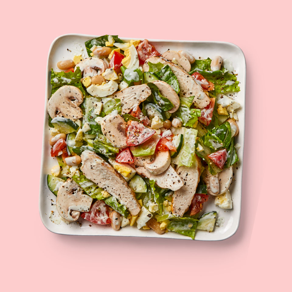This healthy chopped salad is a great way to use up leftover cooked chicken. You can reserve the remaining hard-boiled egg half for a snack. Source: Diabetic Living Magazine, Summer 2019