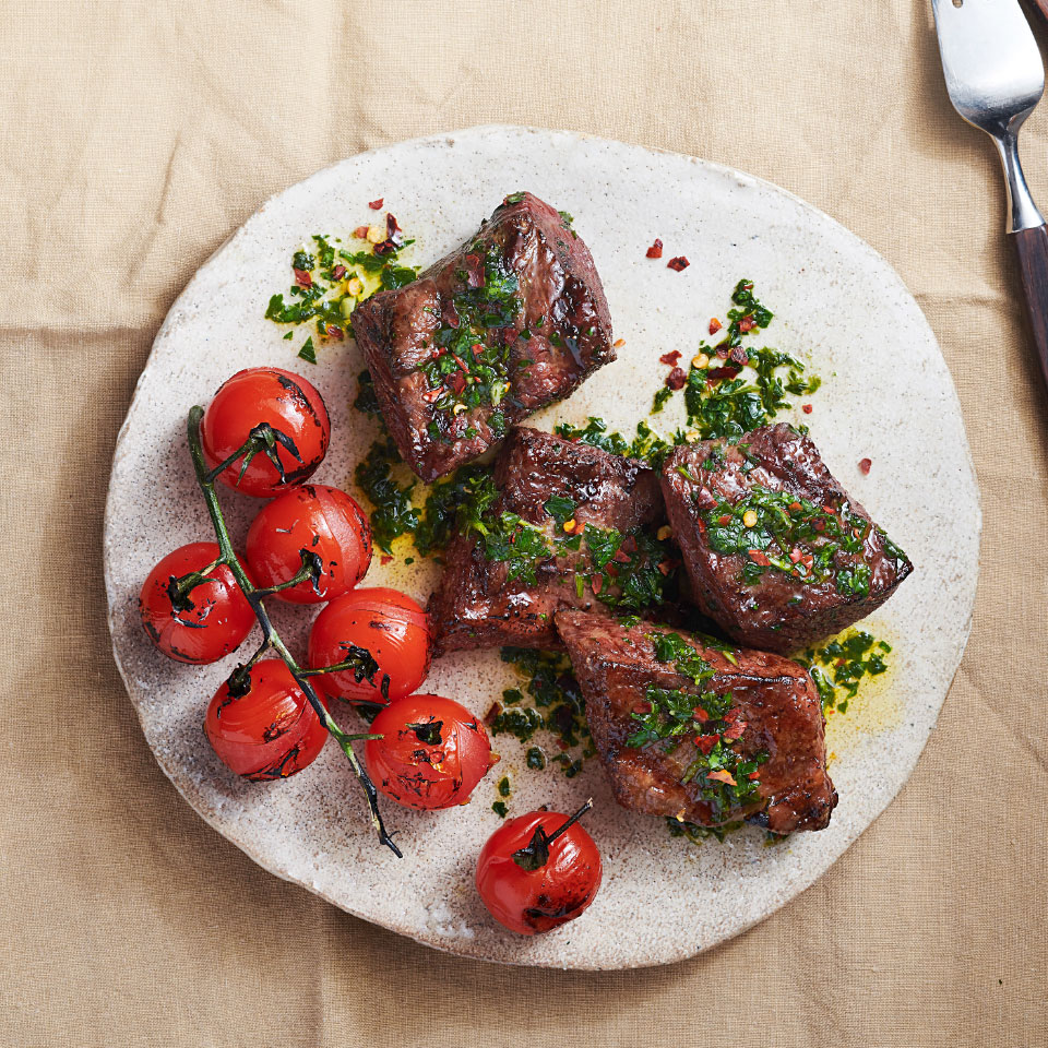 Grilled Short Ribs & Cherry Tomatoes with Chimichurri Devon O'Brien