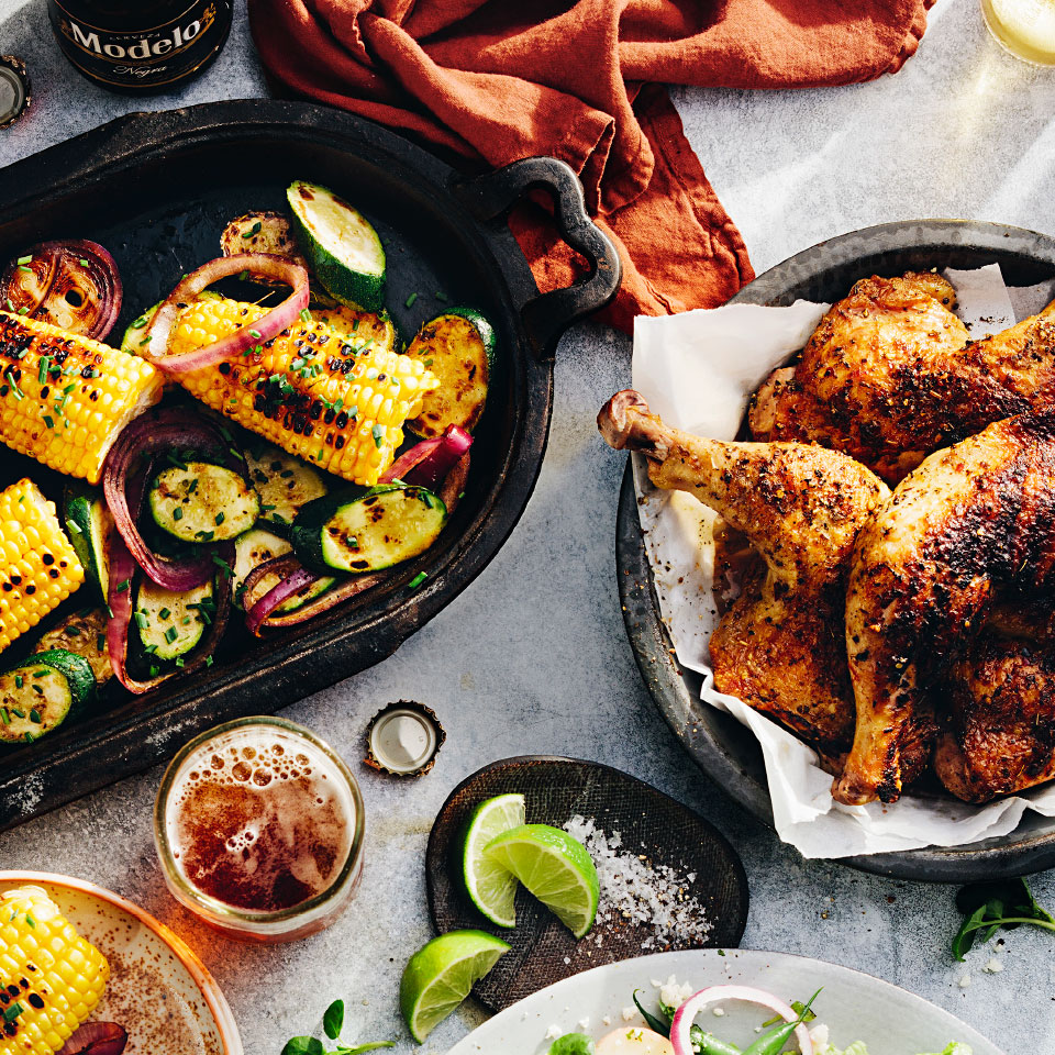 Beer-Glazed Chicken with Grilled Vegetables
