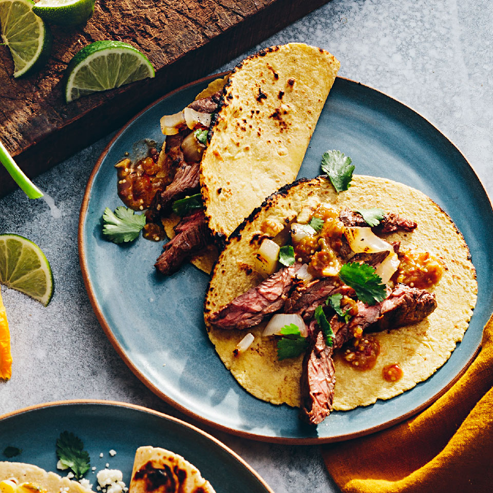 Chipotle Skirt Steak Tacos with Smoky Tomatillo Salsa Rick Bayless