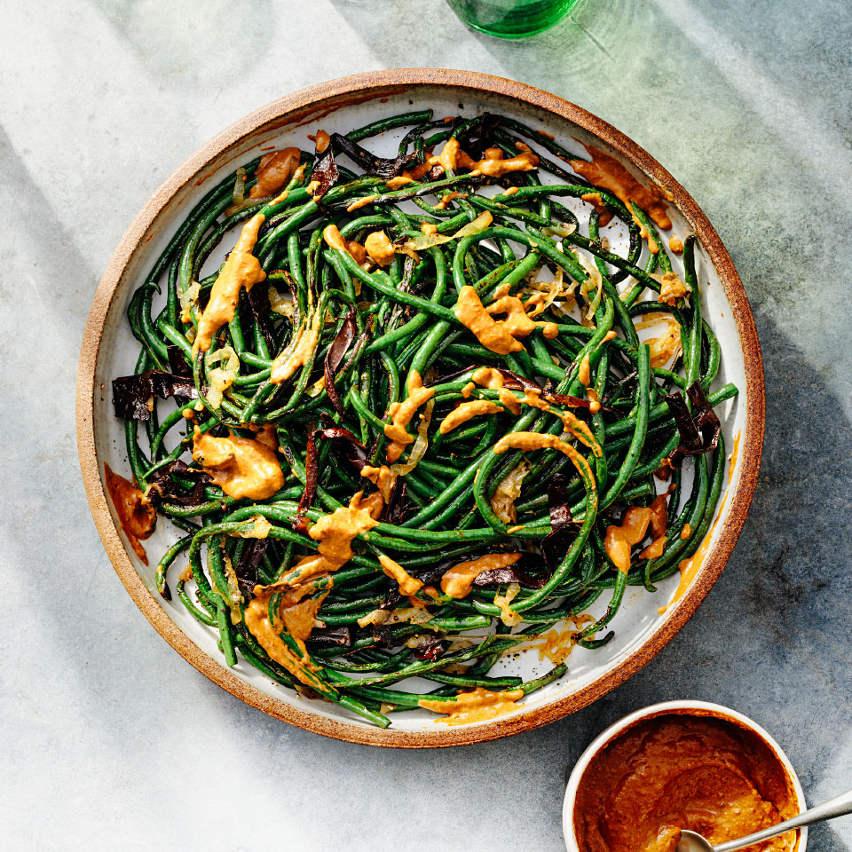 Grilled Long Beans with Creamy Pasilla Chile Rick Bayless