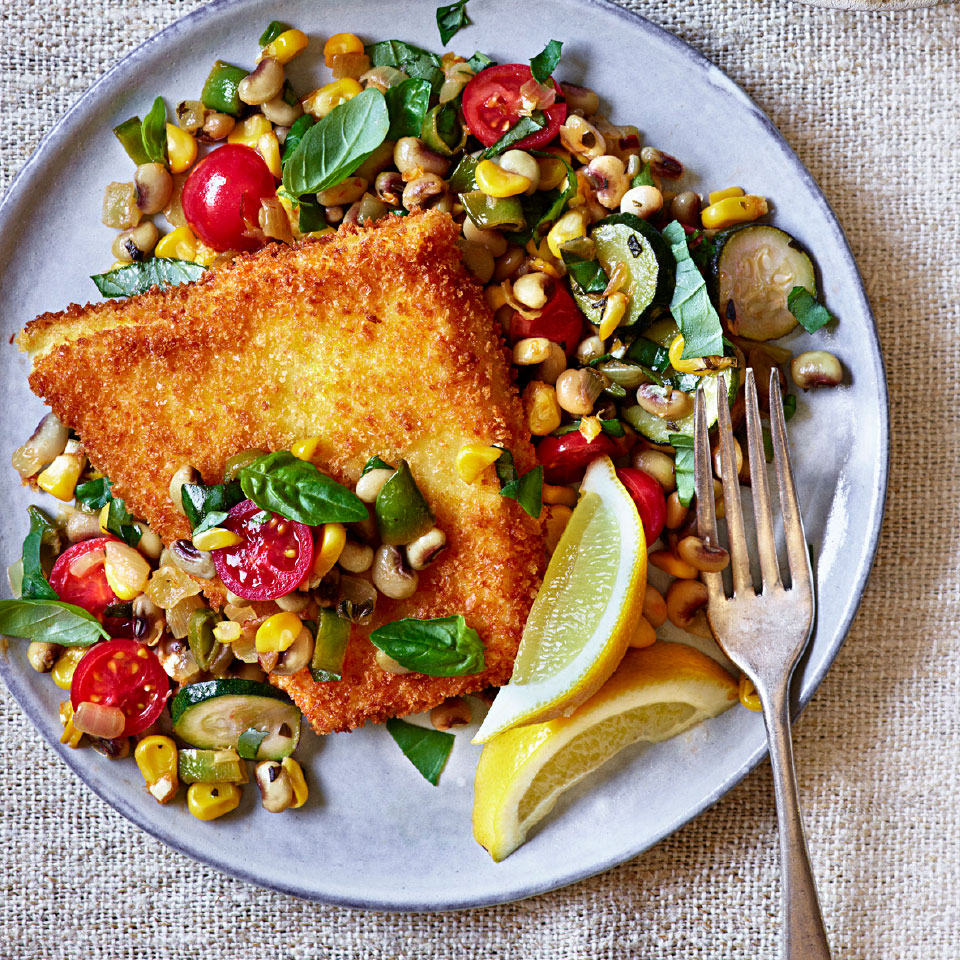 Triggerfish Schnitzel with Summer Succotash