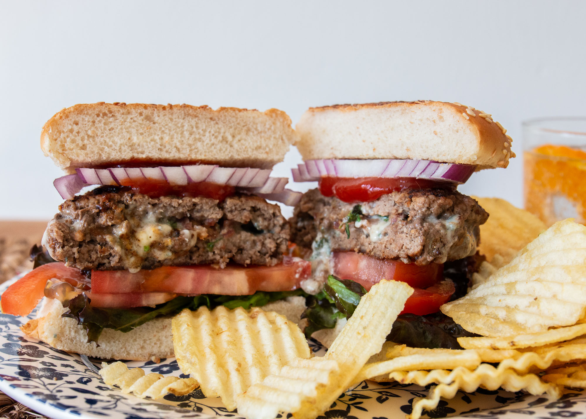 Bacon and Roquefort Stuffed Burgers