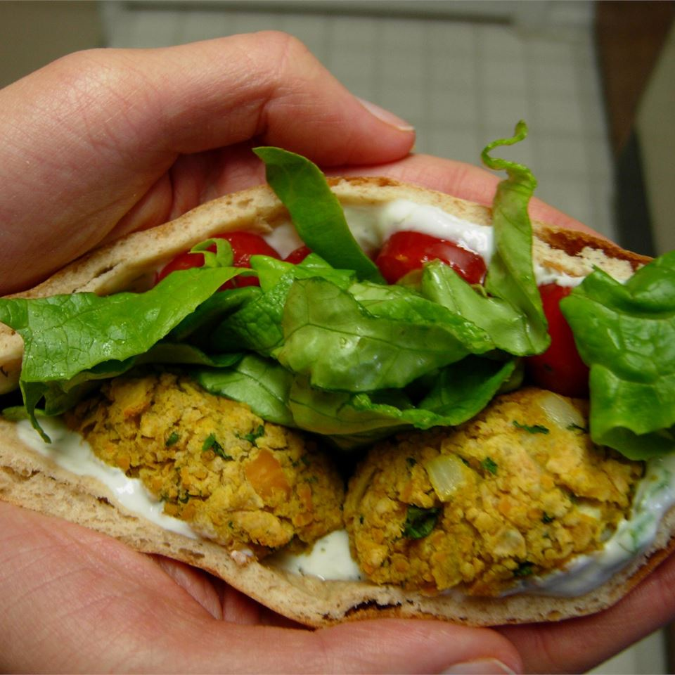 """Pantry Items:Canned garbanzo beans, onions, dried bread crumbsReady In:30 minutes                                   """"This is a tasty dense falafel that contains no eggs,"""" says JeanieMomof3. """"Serve on pitas with tzatziki or tahini sauce with lettuce and tomato."""""""