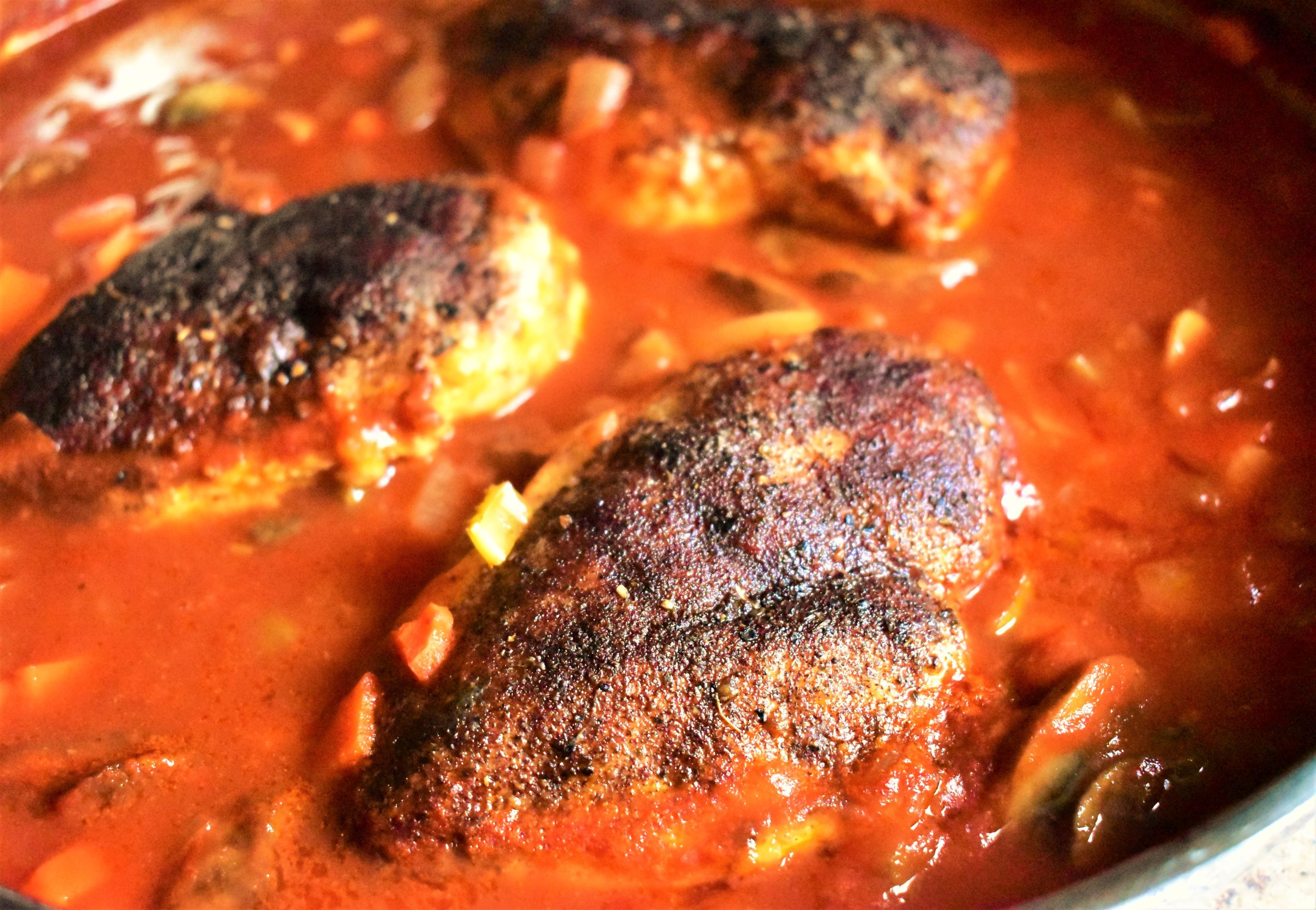 Baked Chicken Breasts in Cinnamon-Tomato Sauce
