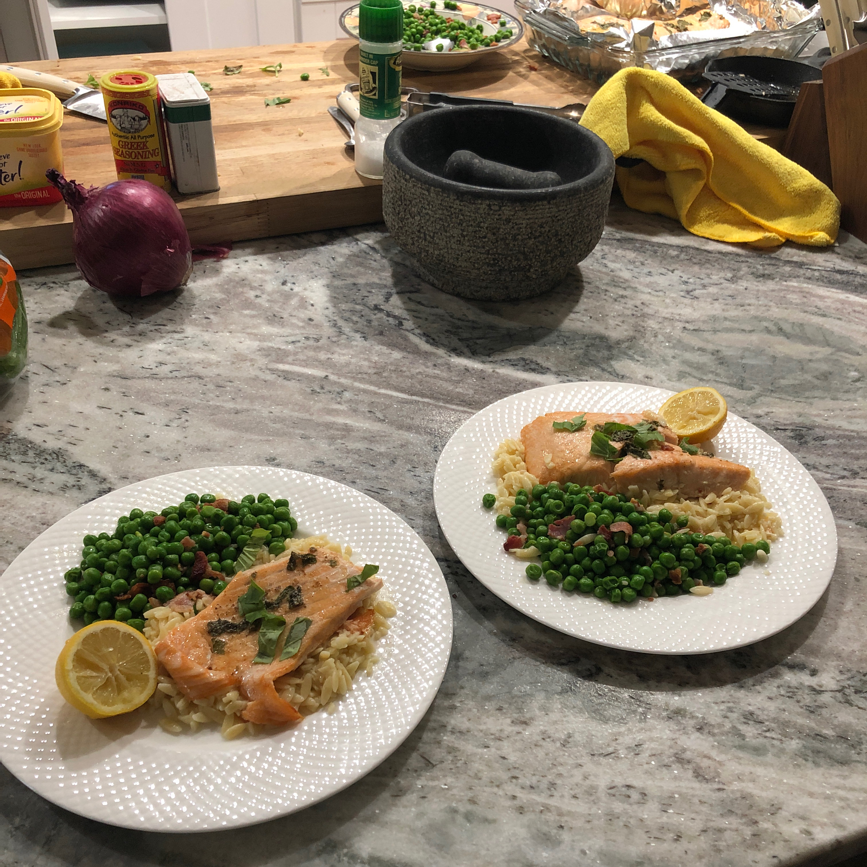 Baked Salmon with Lemony Orzo and Basil-Bacon Peas