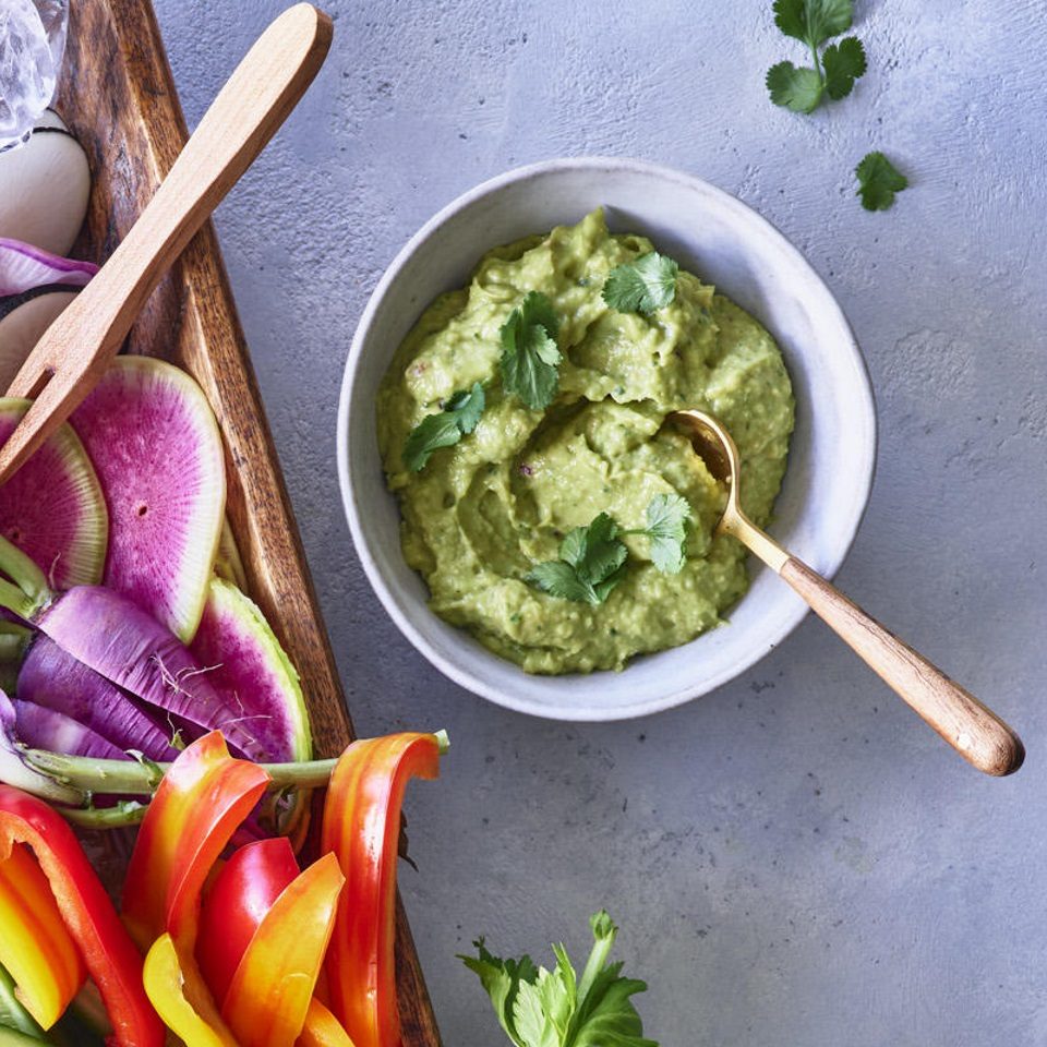 Guacamole meets chickpeas for a Cali-Middle East mashup in this healthy avocado hummus recipe. Jalapeños can be hot or not so much--taste and adjust for your palate. Source: EatingWell Magazine, June 2019