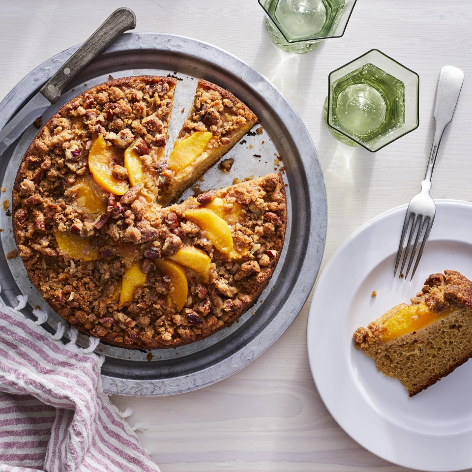 This fresh peach coffee cake with pecan streusel would be lovely for a summertime brunch or afternoon tea. A combination of Greek yogurt and buttermilk in the batter makes for a moist and tender cake, and swapping out all-purpose flour for white whole-wheat flour ups the nutritional value without affecting the taste or texture of this delicious coffee cake. Source: EatingWell.com, May 2019