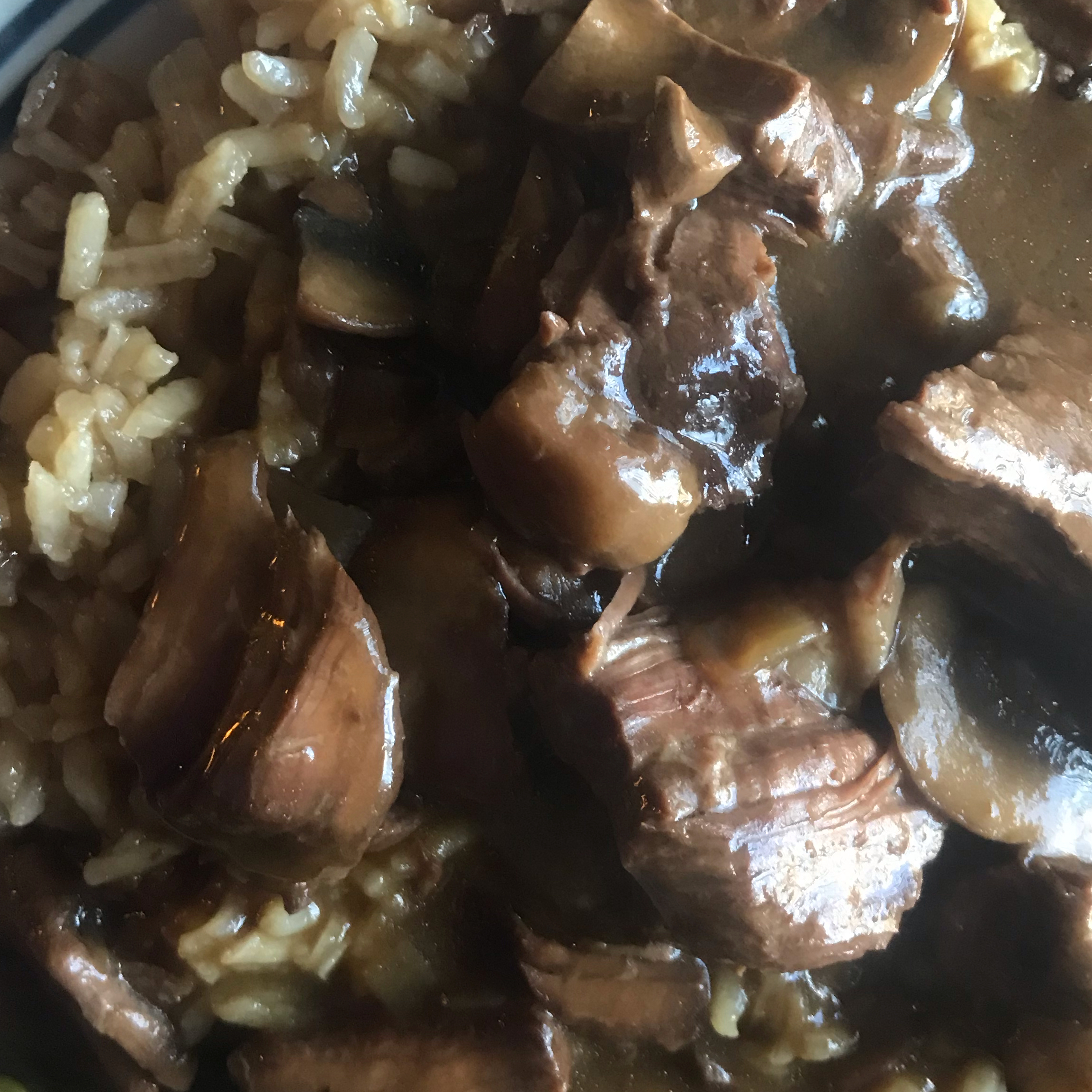 Beef Tips and Merlot Gravy with Beef and Onion Rice LauraLynn Taurianen