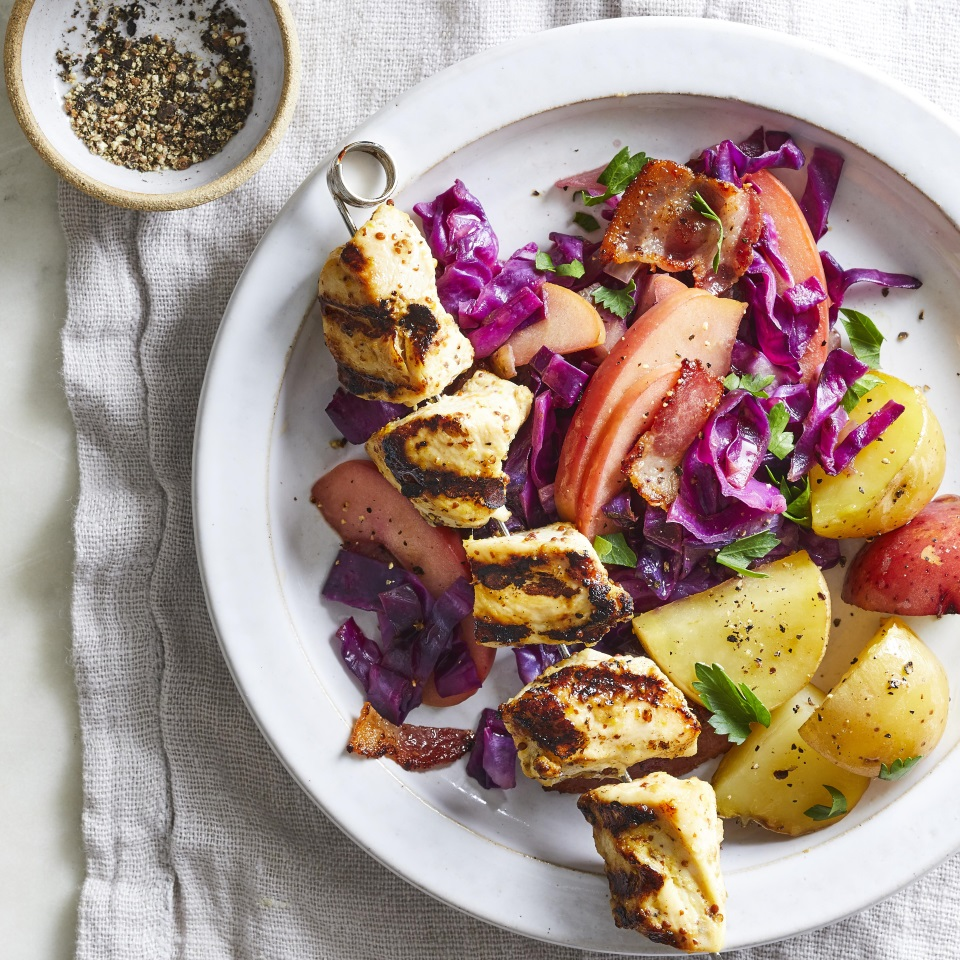 Serve these easy grilled chicken kebabs with apple and cabbage slaw and potatoes for a healthy dinner that's great for summer cookouts. Leave yourself enough time to marinate the chicken for up to three hours in the simple orange-ginger marinade before threading it onto skewers and putting them on the grill. Source: What to Eat with Diabetes 2019