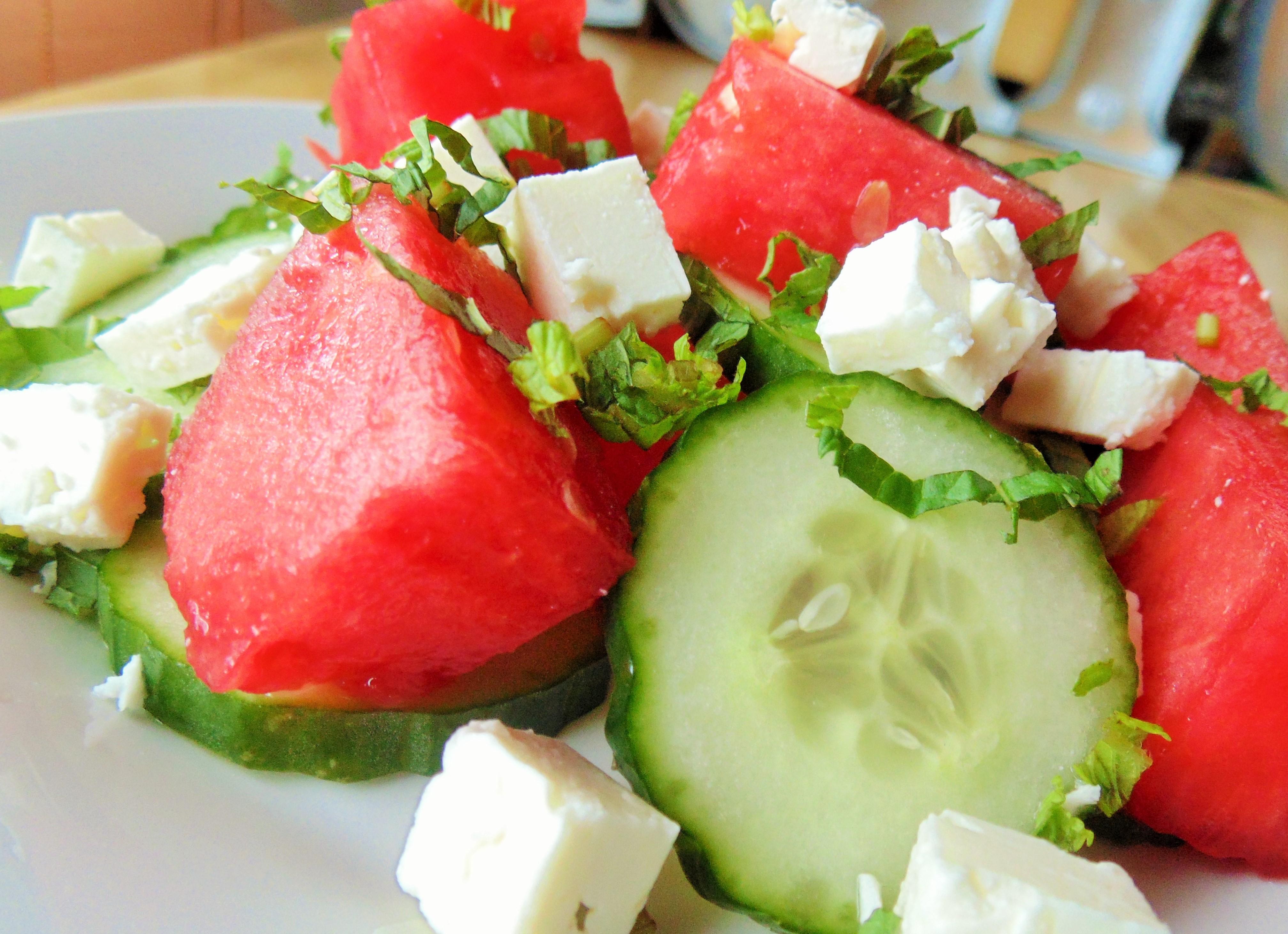 Watermelon Cucumber Salad