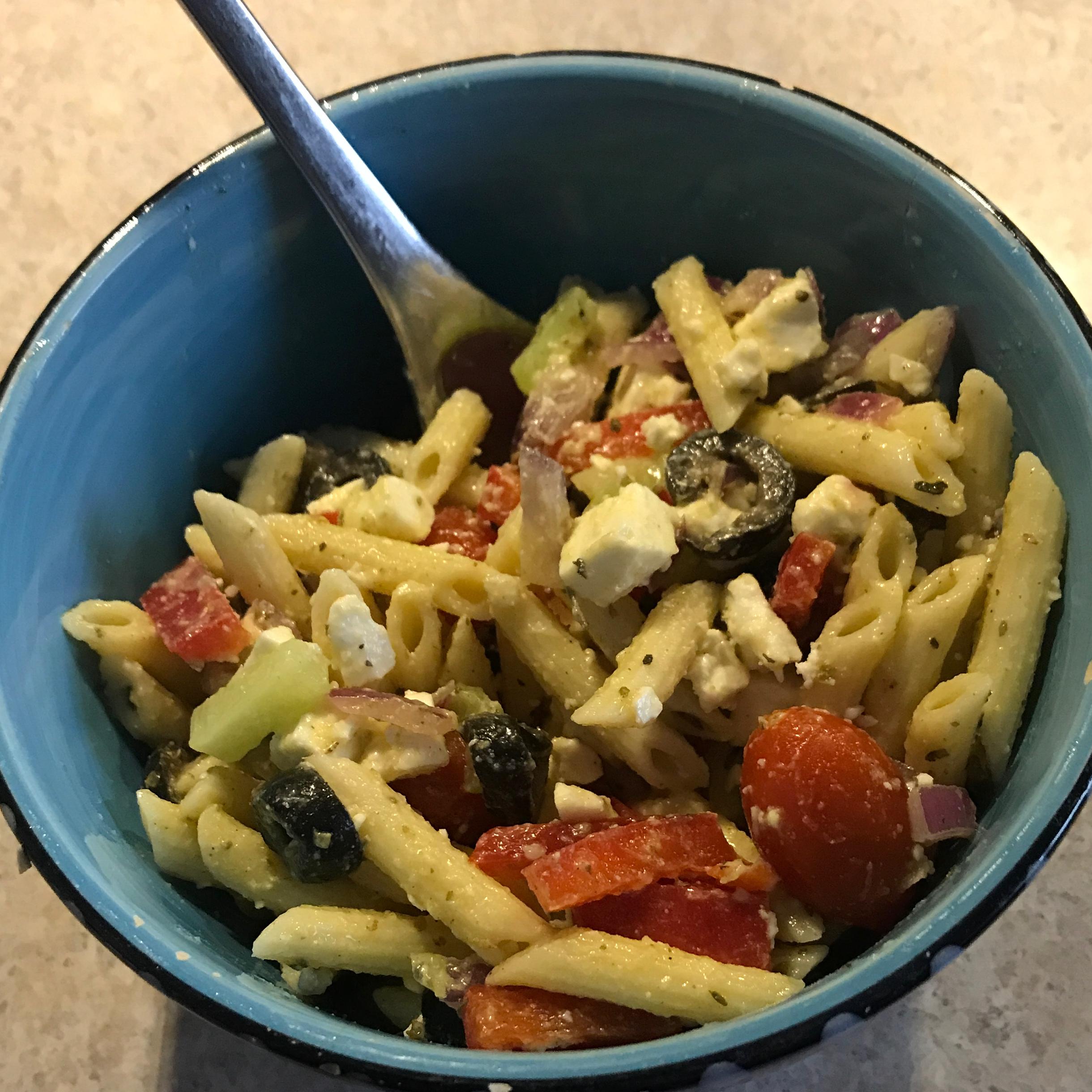 Vegetarian Greek Pasta Salad abbyalana