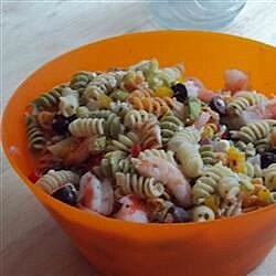 greek pasta salad with shrimp tomatoes zucchini peppers and