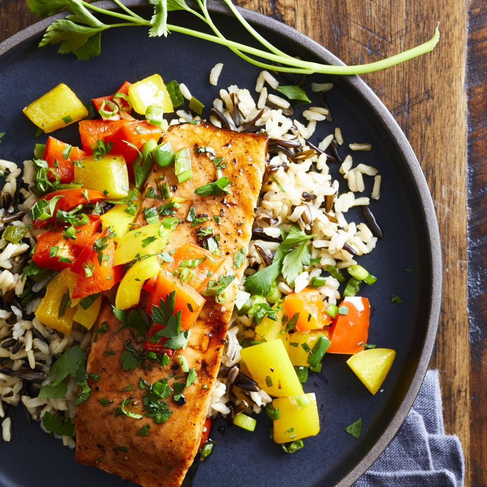 Fresh jalapeños give this quick and easy roasted salmon dish its kick; honey and balsamic vinegar give it a sweet finish. A nutty-tasting wild rice pilaf completes this healthy dinner that comes together in just 30 minutes. Source: What to Eat with Diabetes 2019