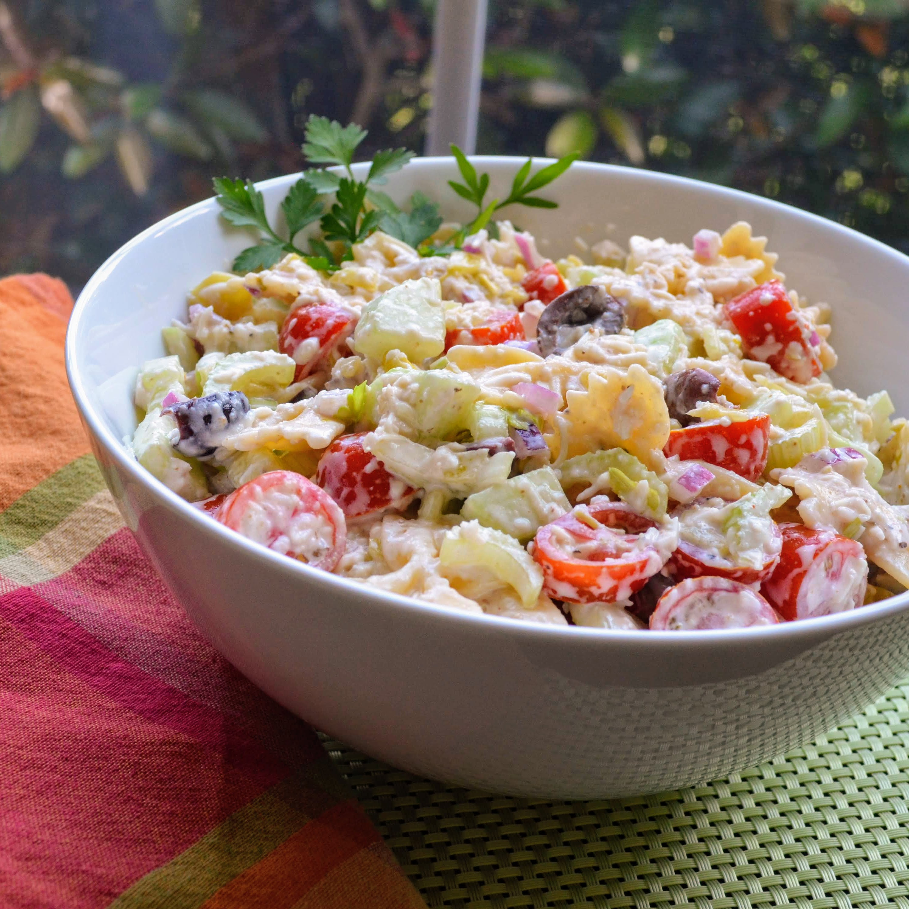 """""""A flavorful diversion from the run-of-the-mill Italian pasta salad,"""" says A. Piatt. """"I like to serve this with grilled, fried, or barbecued chicken, and a crusty artisan bread. I would double the portions if you want to have leftovers when serving 4 or more; this goes fast in my home! Enjoy!"""""""