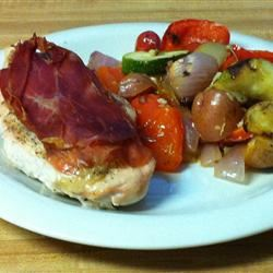 Parma Wrapped Chicken with Mediterranean Vegetables