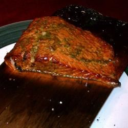 Cedar Plank-Grilled Salmon with Garlic, Lemon and Dill Fadi Hussein